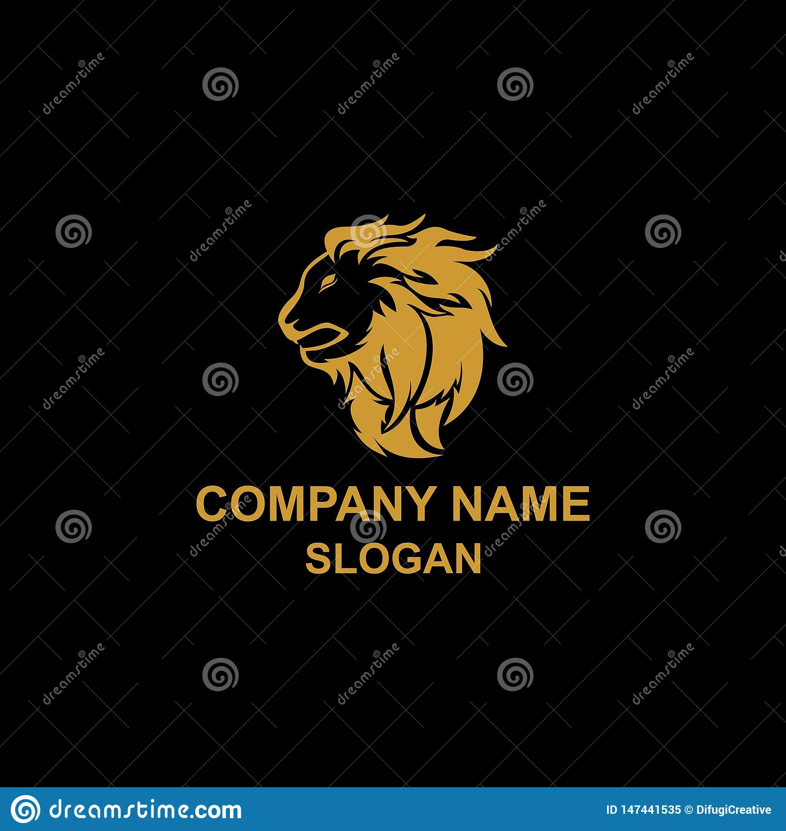 Gouden Lion Head Logo