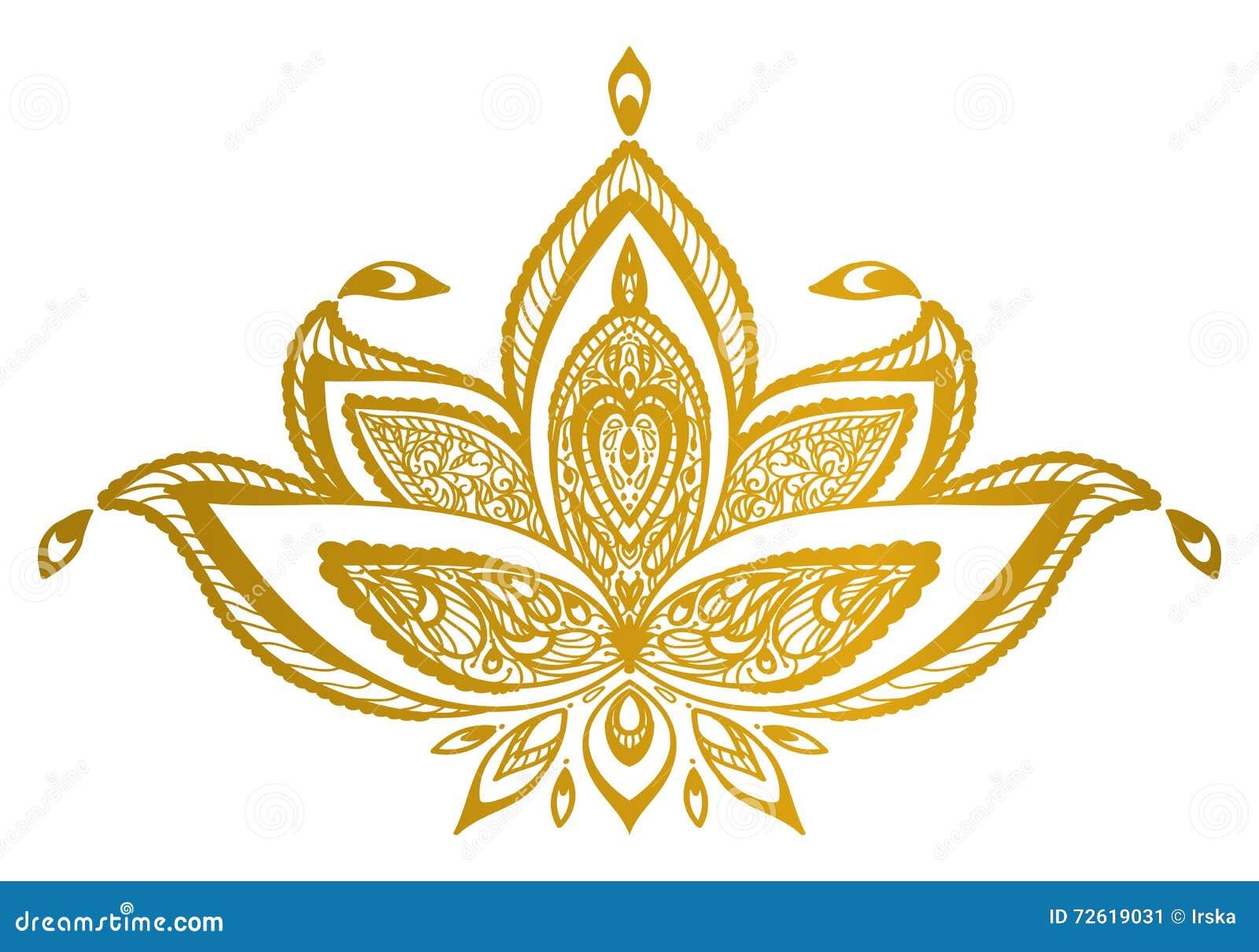Gouden mandala van de lotusbloemgrens