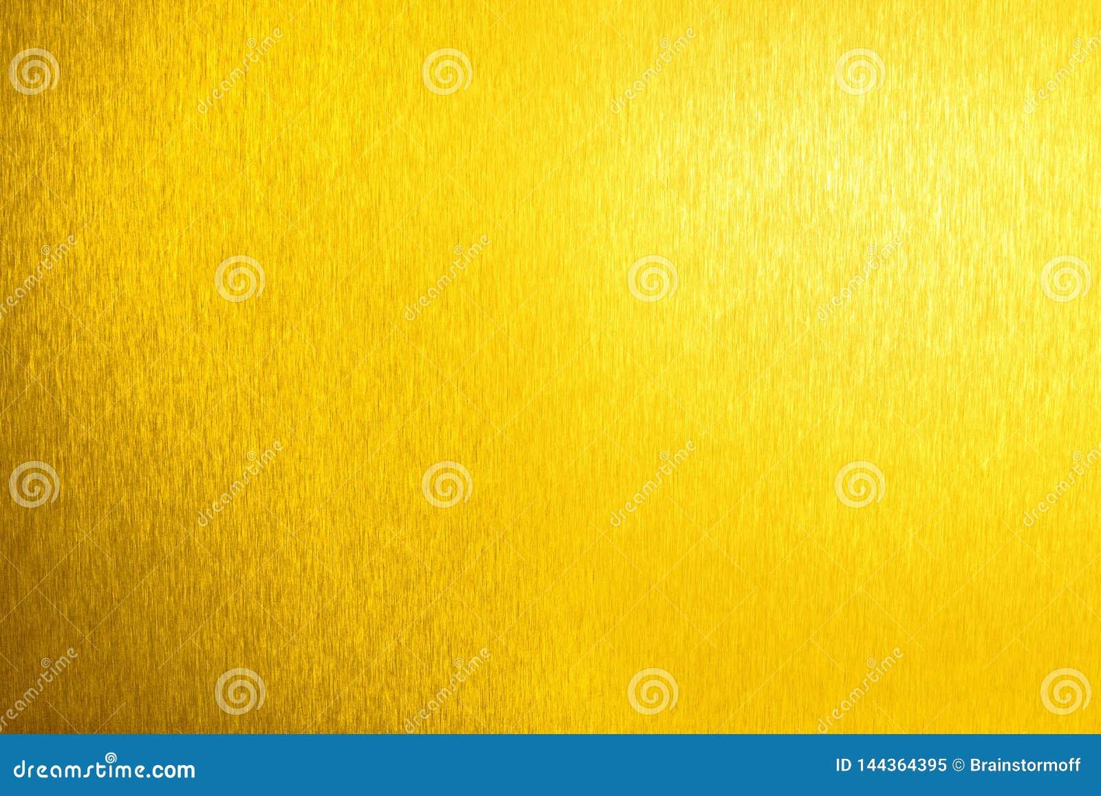 Gouden metaal glanzende lege oppervlakte, gele glanzende metaalachtergrond, gouden bladachtergrond dicht omhoog, decoratieve het