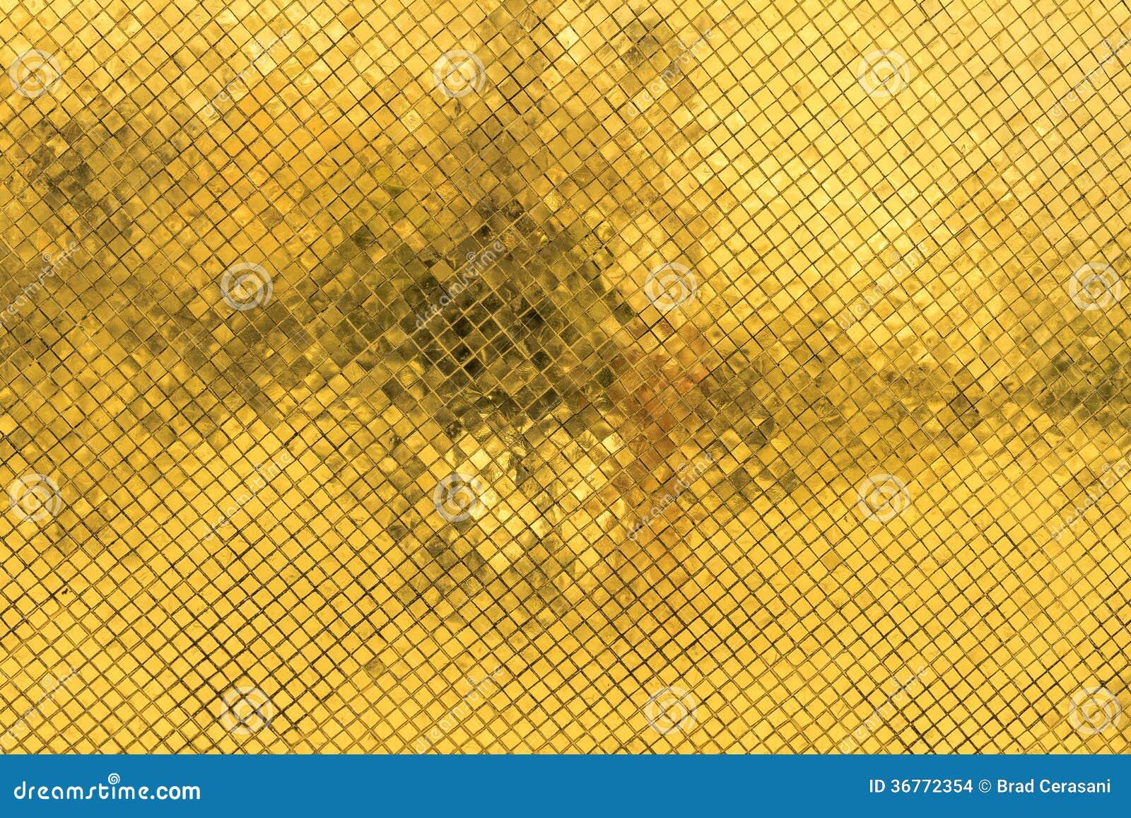Gouden Mozaiek Tegels : Gouden mozaïekachtergrond stock foto afbeelding bestaande uit
