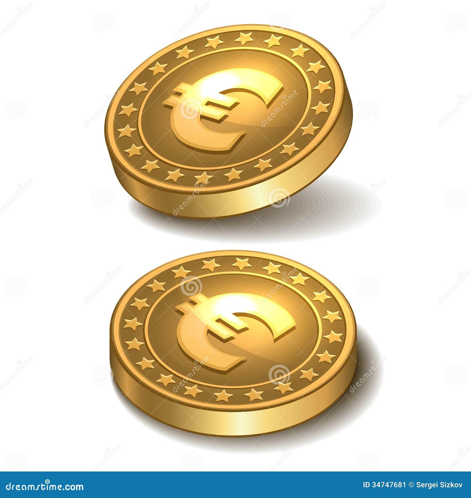 Gouden Muntstuk Met Euro Teken. Stock Afbeelding - Afbeelding ...