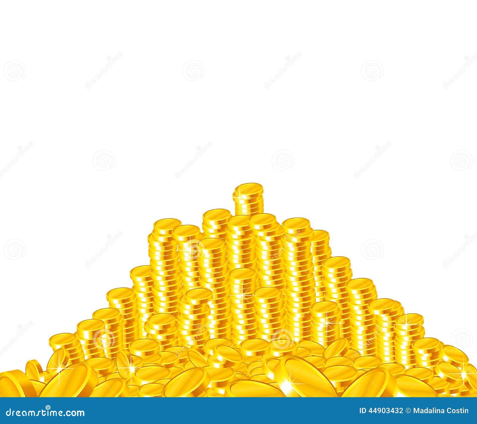 Gouden muntstukkenstapel