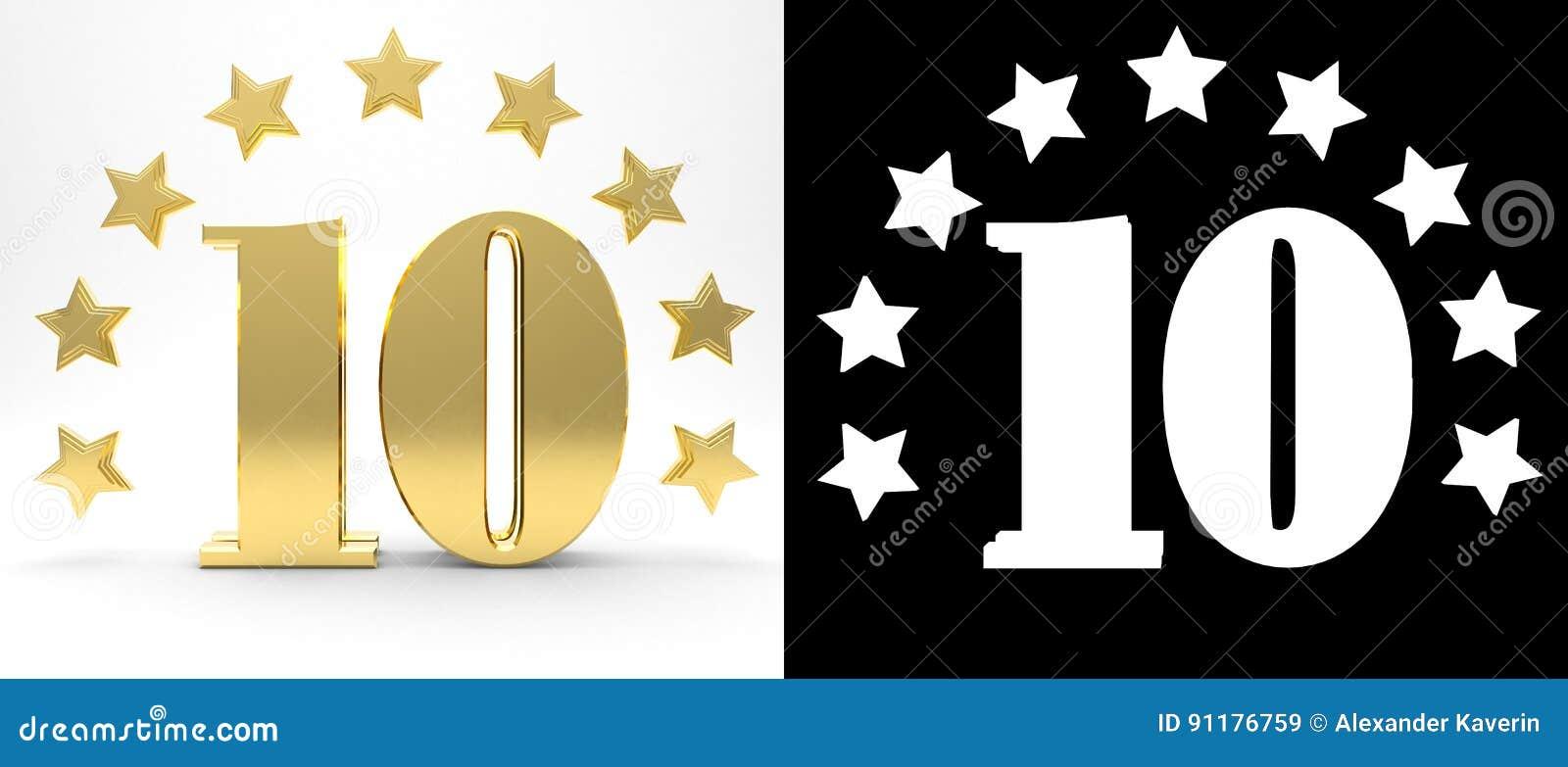Gouden nummer tien op witte achtergrond met daling stelt en alpha- die kanaal in de schaduw, met een cirkel van sterren wordt ver