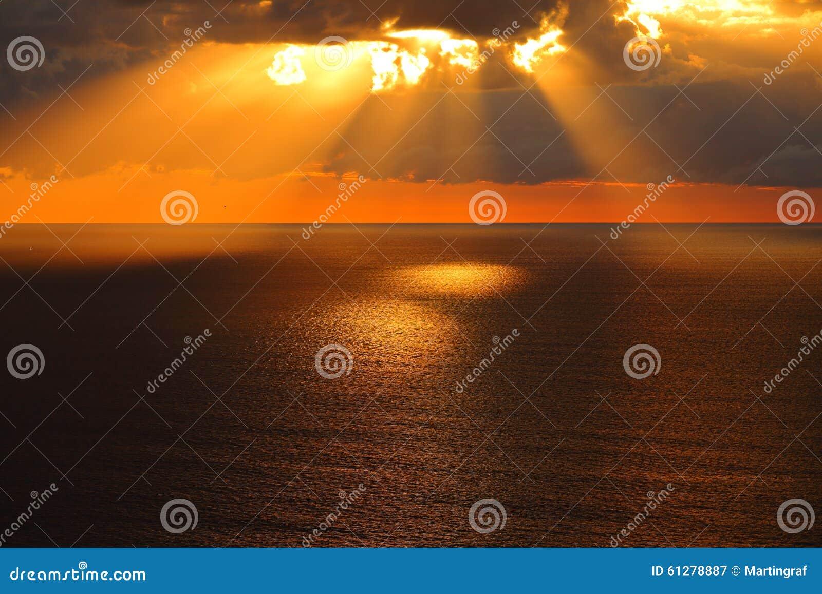 Gouden ochtend bij kalme overzees