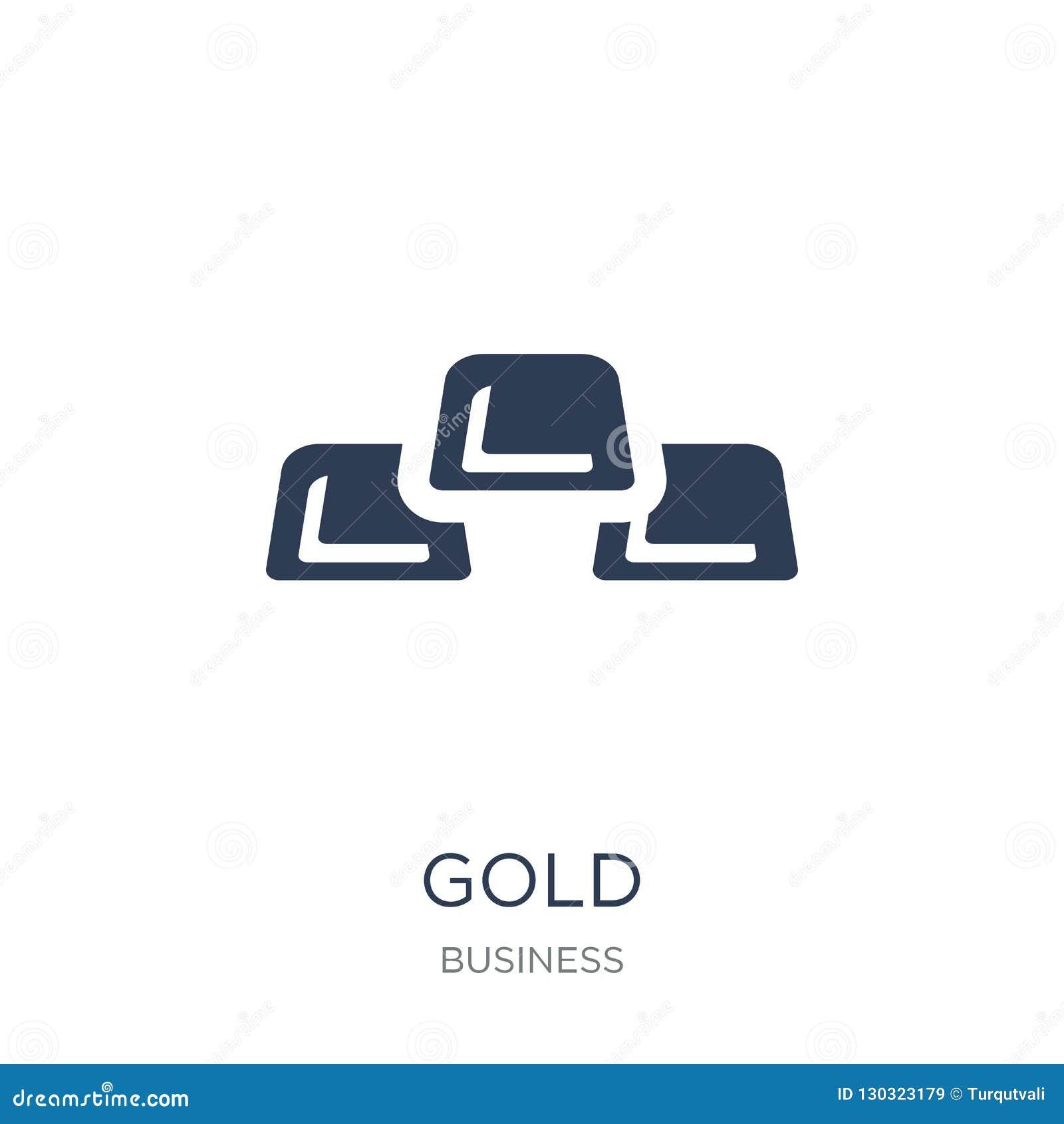 Gouden pictogram In vlak vector Gouden pictogram op witte achtergrond van
