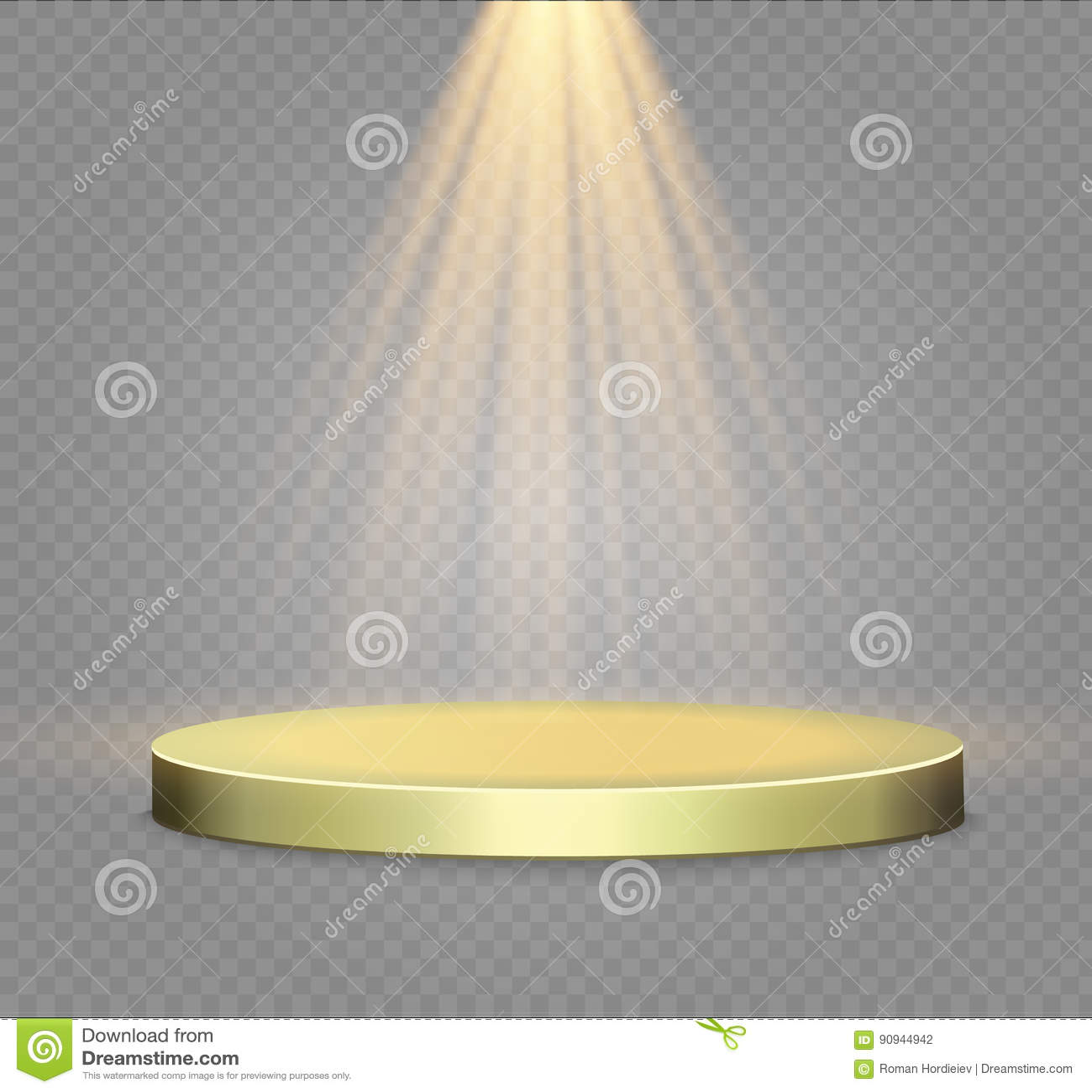 Gouden podium op een transparante achtergrond het podium van winnaars met verstralers Schijnwerper