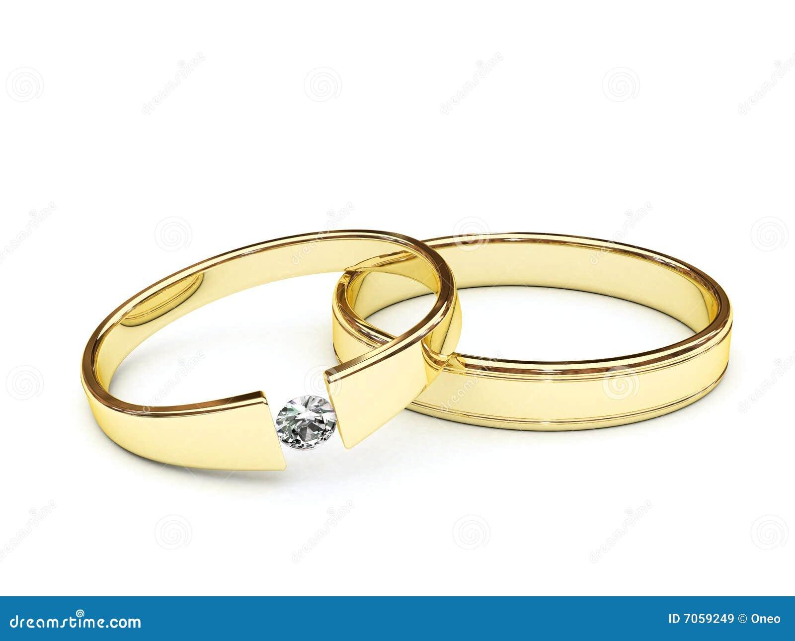 Gouden Ringen Met Diamant Royalty vrije Stock Afbeeldingen   Afbeelding  7059249