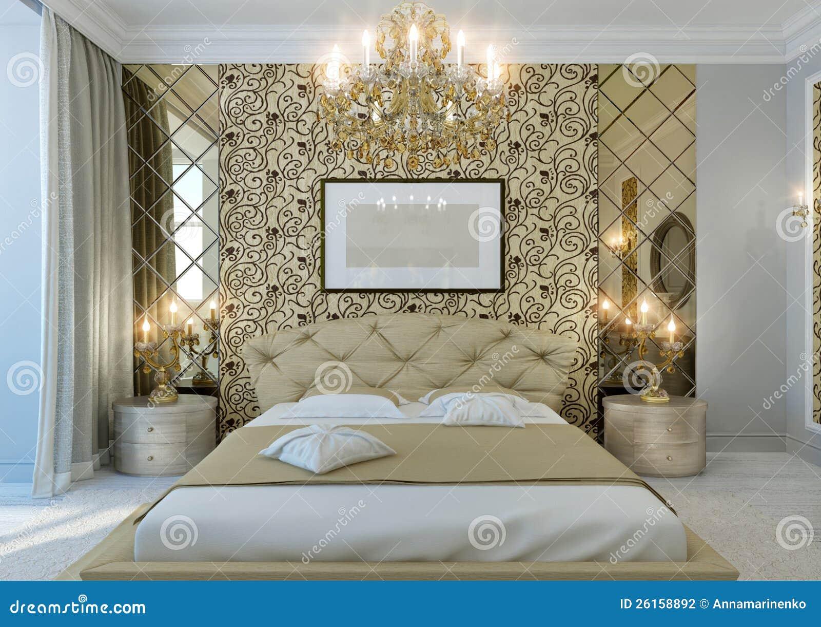 Gouden slaapkamer stock foto. Afbeelding bestaande uit bevloering ...