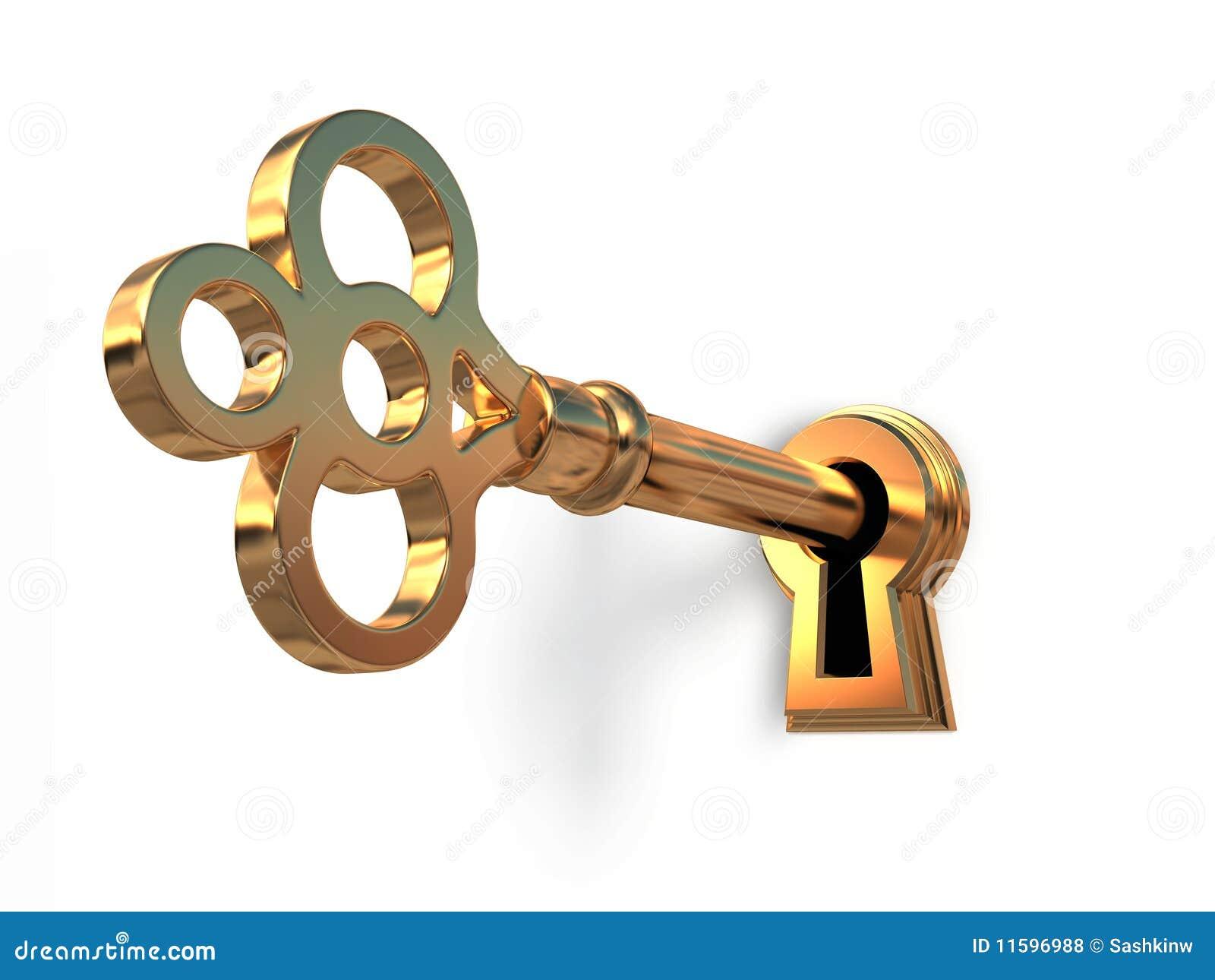Gouden sleutel in sleutelgat