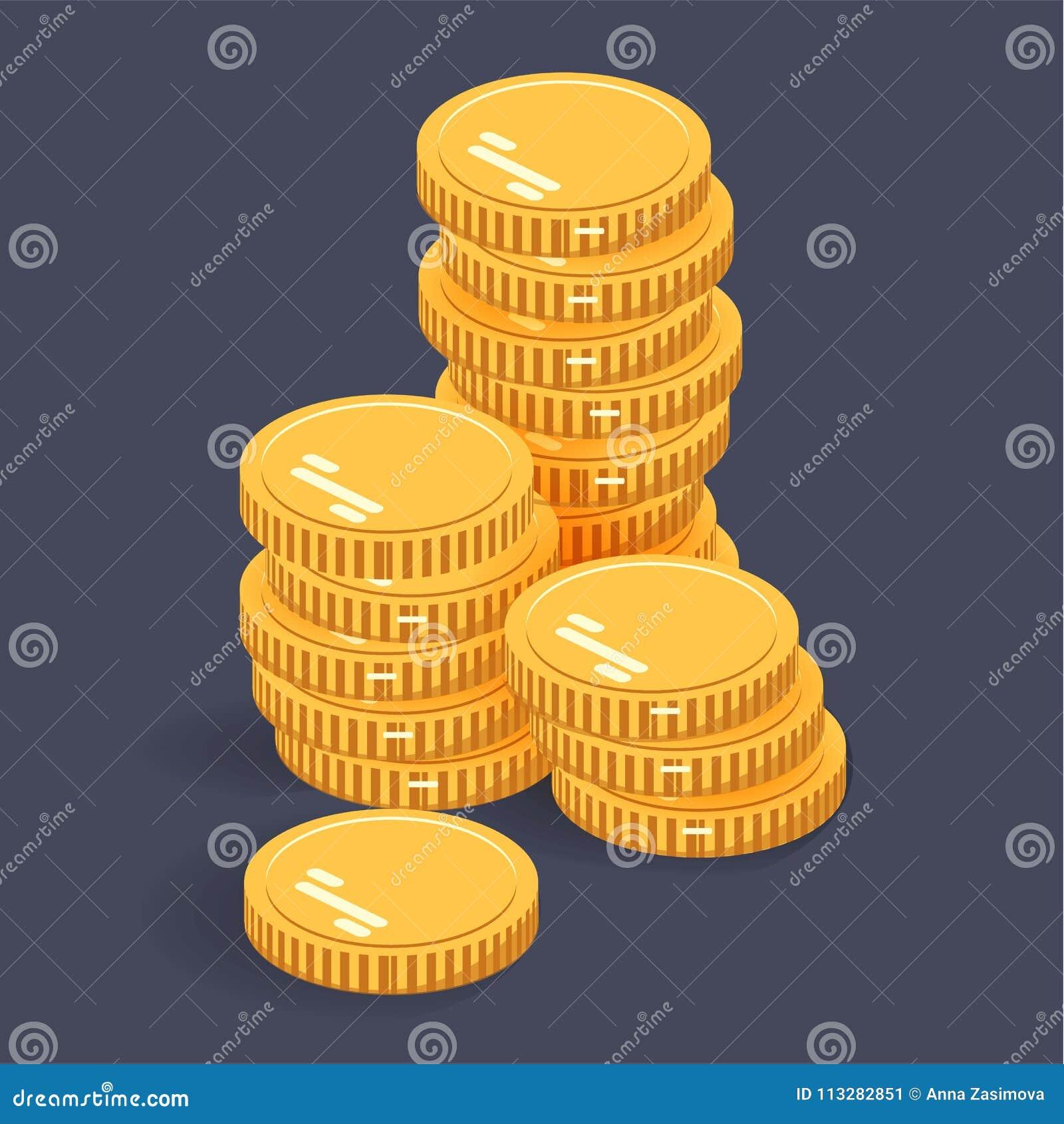 Gouden stapelmuntstukken Vector isometrisch geldpictogram op een gekleurde achtergrond Geld vlak pictogram in isometrische stijl