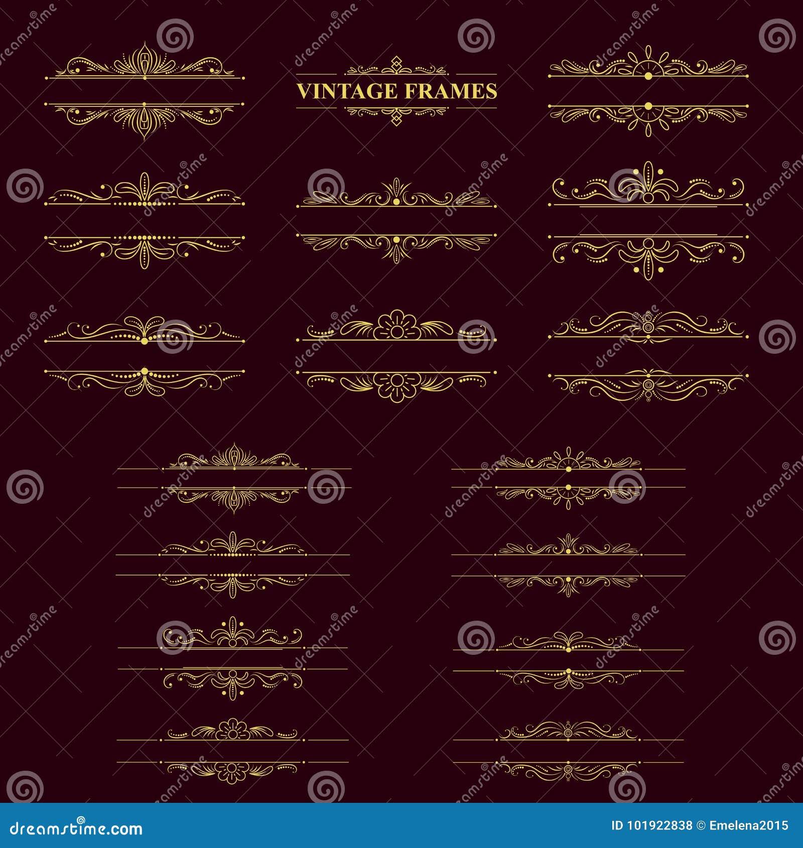 Gouden strepenkader met uitstekende elementen