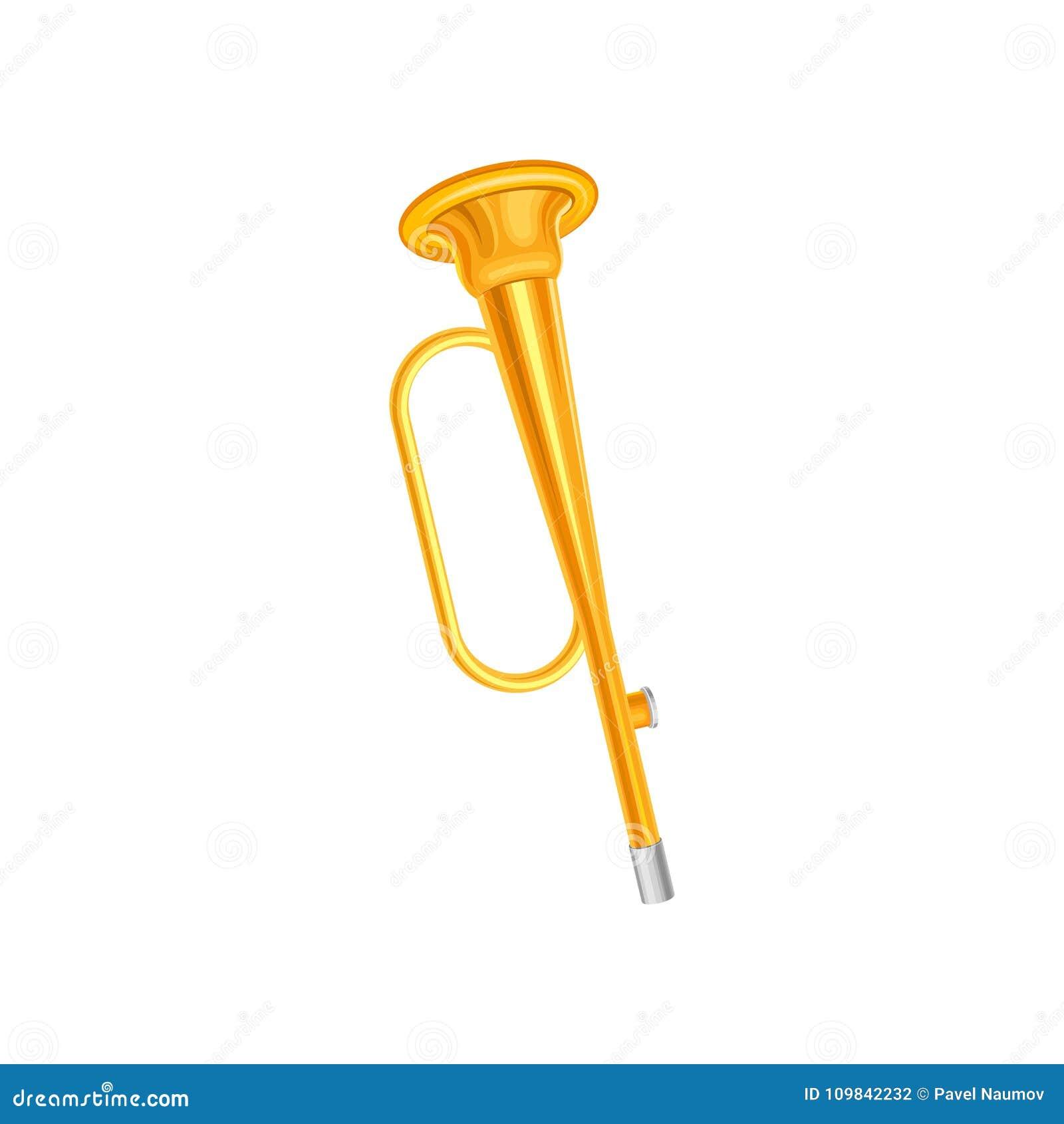 Gouden trompettepictogram Concept klein messings muzikaal instrument Decoratief element voor muziekopslag, promoaffiche