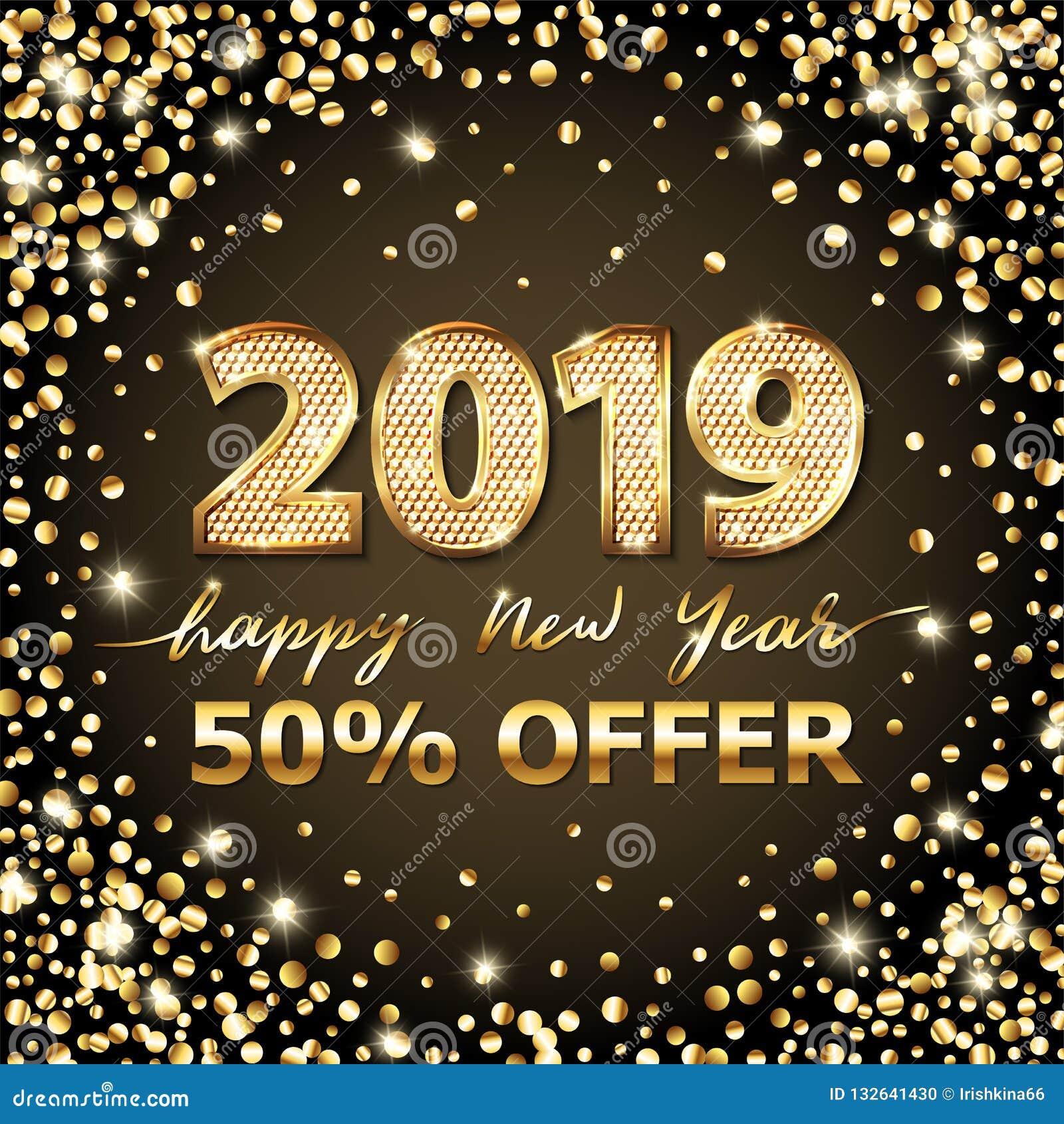Gouden Vectorluxetekst 2019 Gelukkig nieuw jaar Gouden Feestelijk Aantallenontwerp Schitter confettien De vierkante Cijfers van d