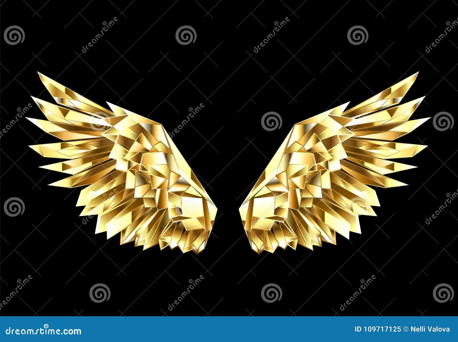 Gouden veelhoekige vleugels op zwarte achtergrond