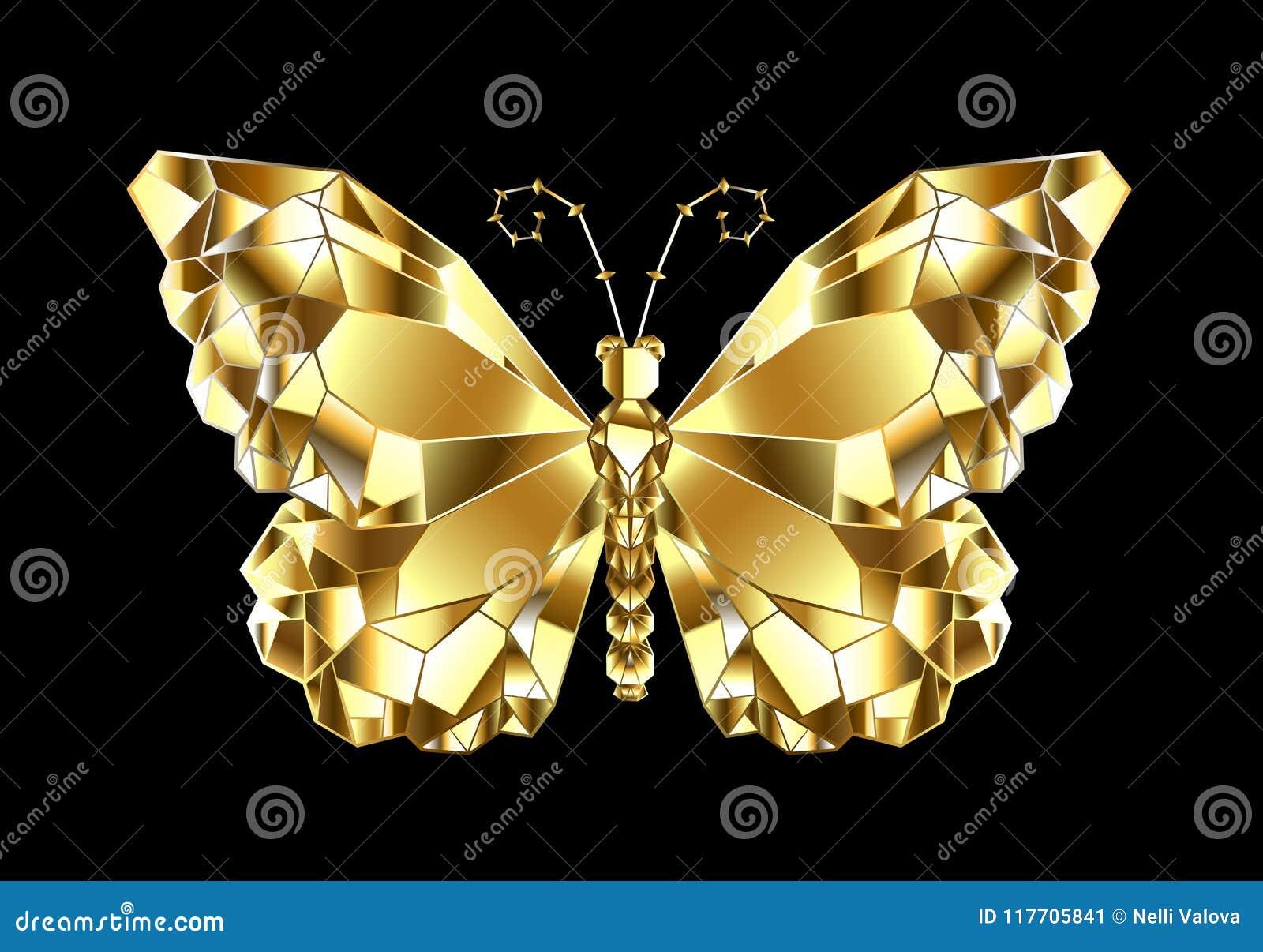 Gouden veelhoekige vlinder op zwarte achtergrond