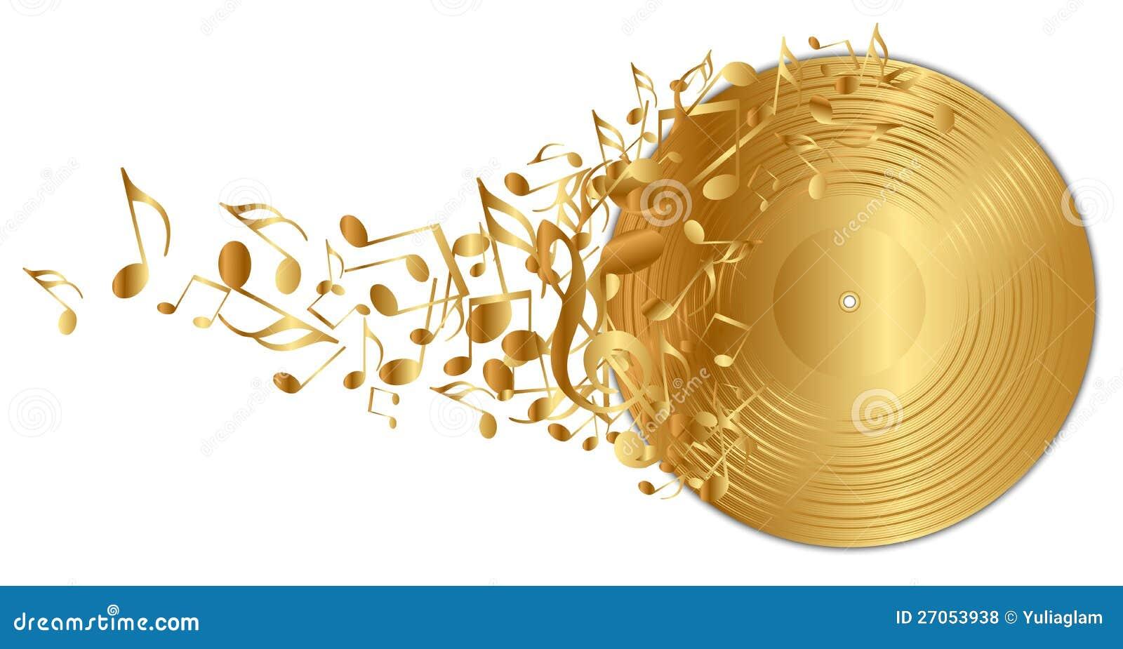 Gouden vinylverslag met nota s