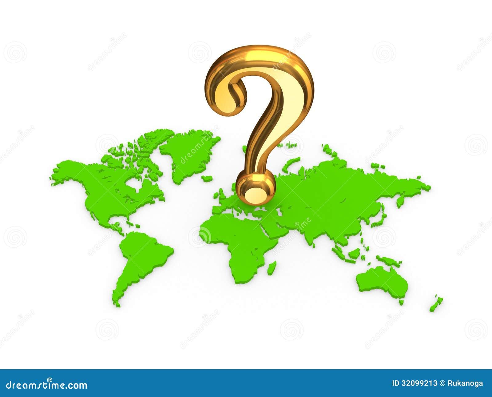 Gouden vraagteken op een kaart stock illustratie afbeelding 32099213 - Thuisconsole van de wereld ...