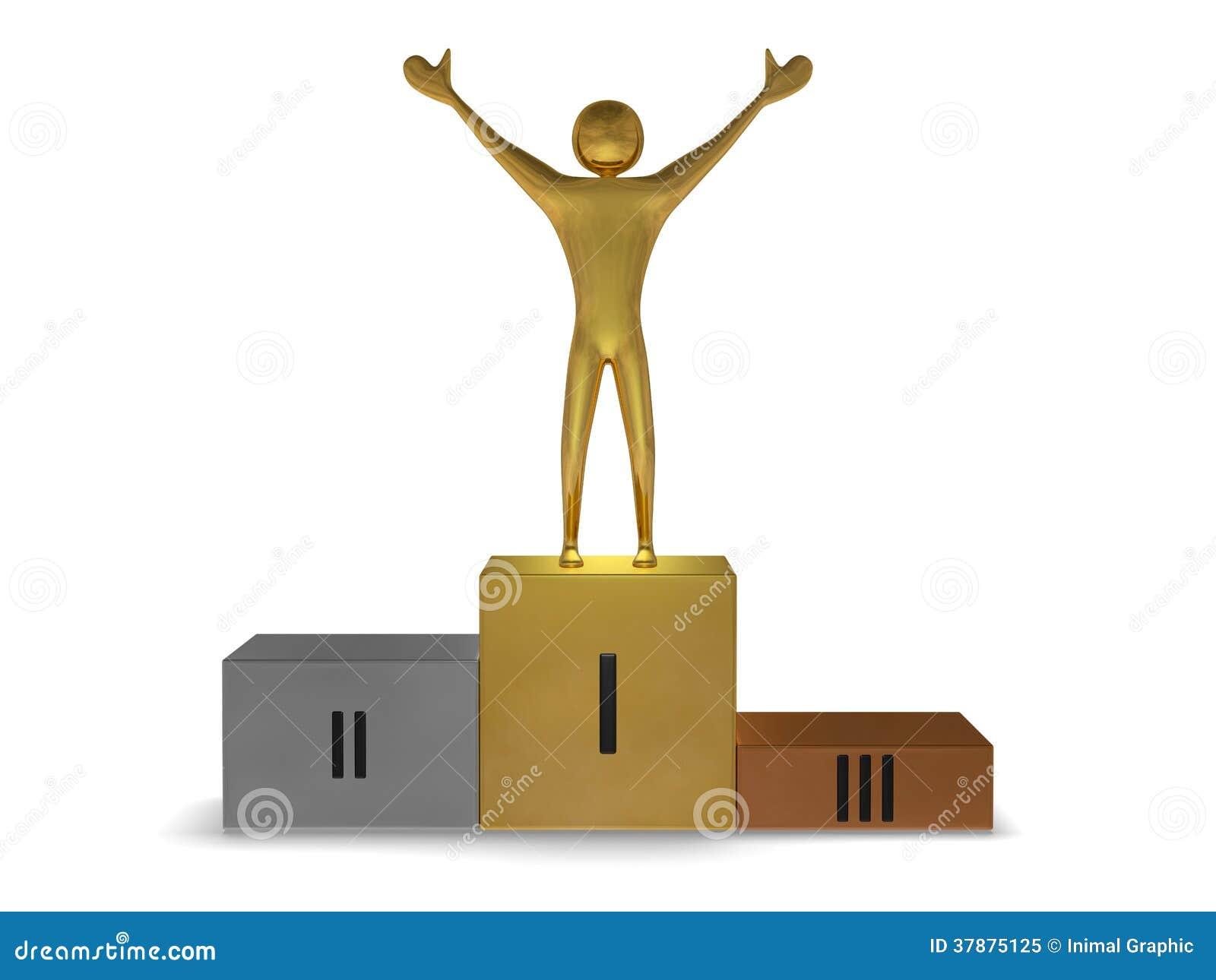 Gouden winnaar op podium van goud, zilver en brons. Vooraanzicht