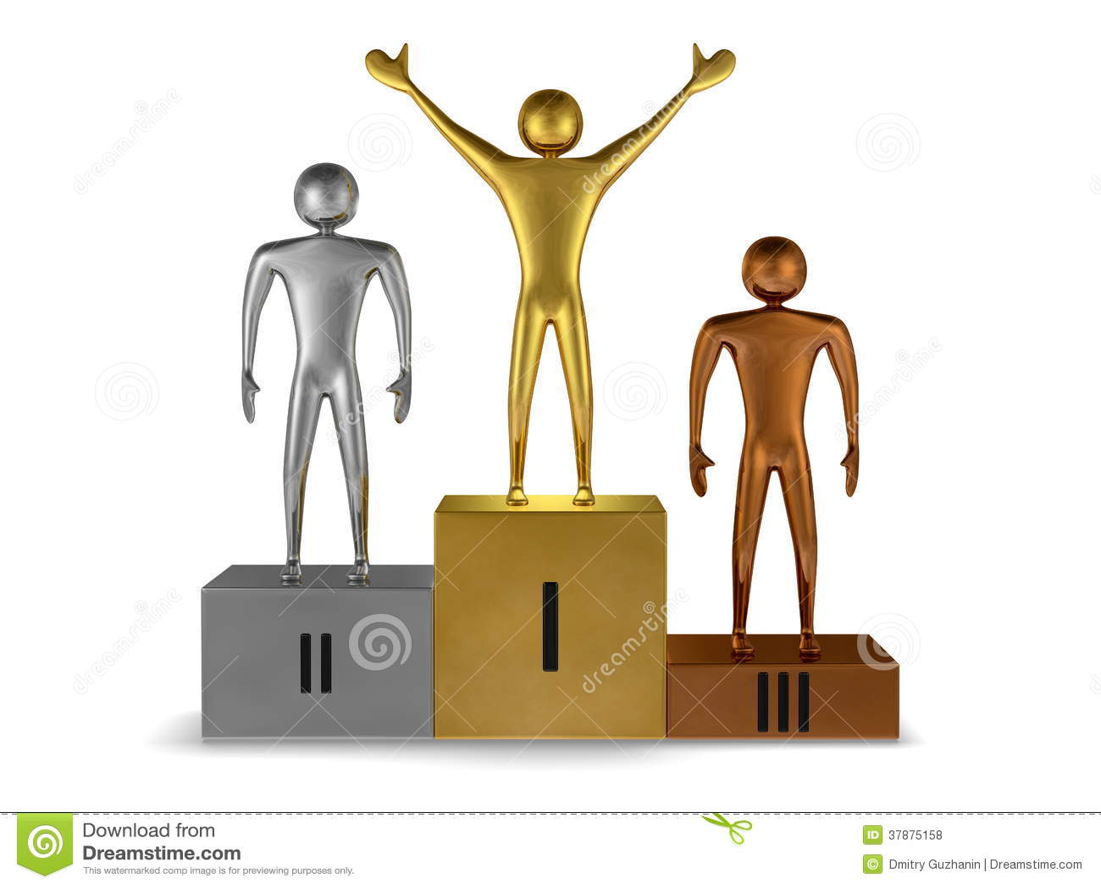 Gouden winnaar, zilver en bronsprizetakers op podium. Vooraanzicht