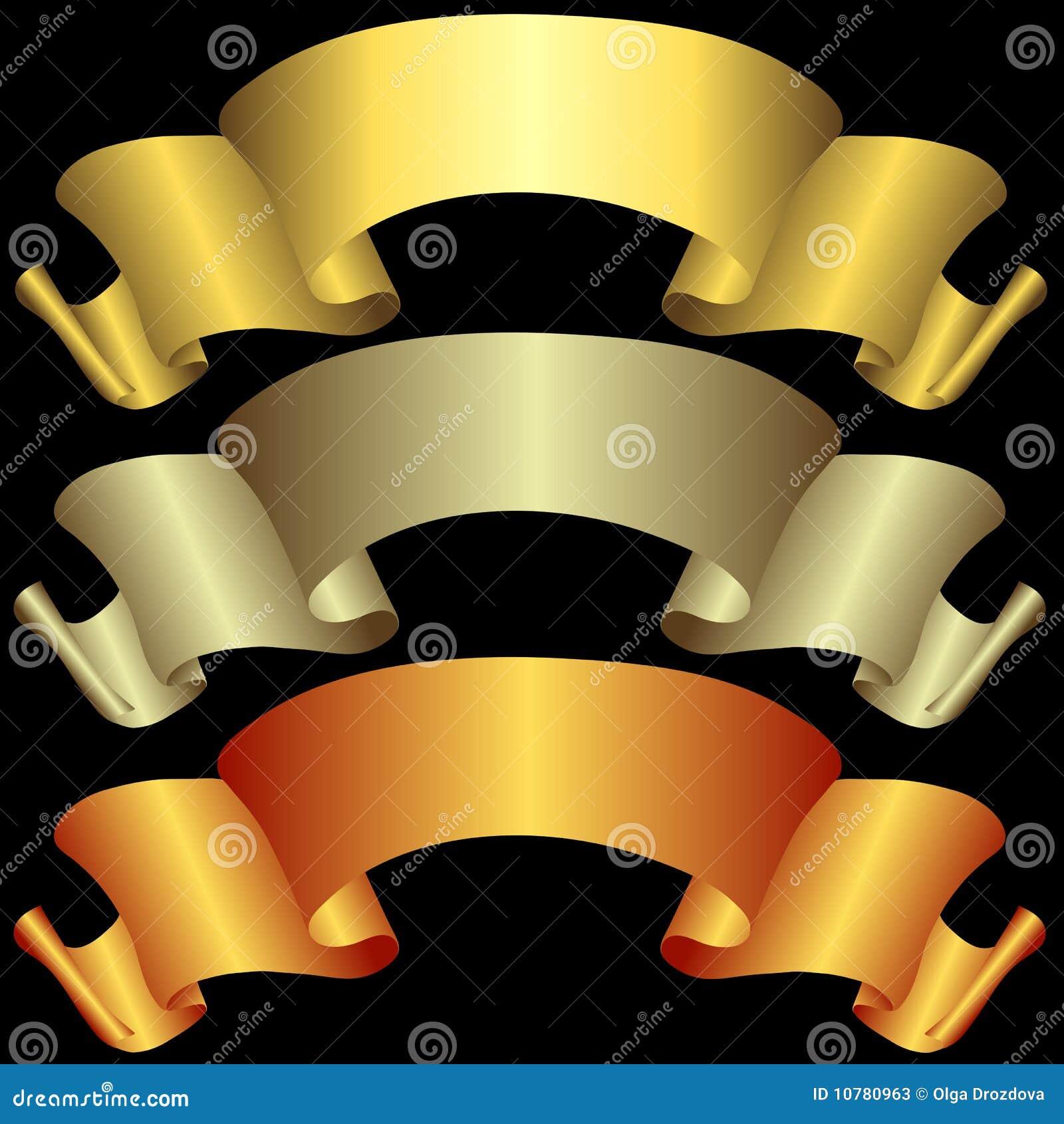 Gouden, zilverachtige en bronsbanners