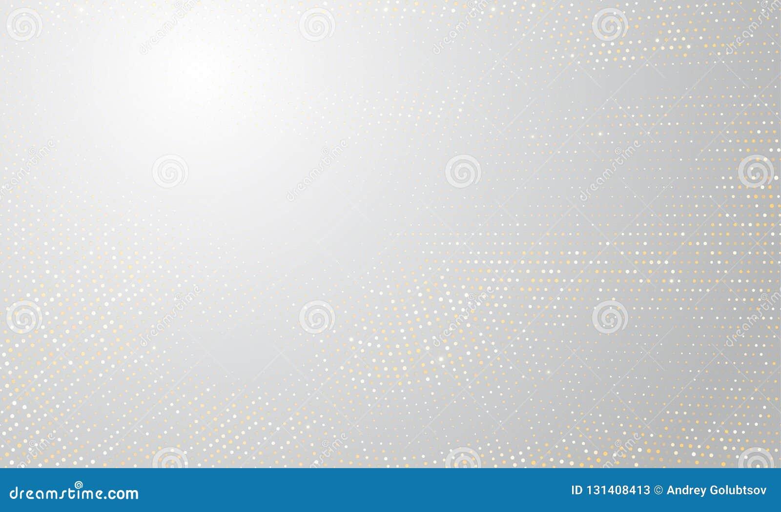 Gouden zilveren halftone achtergrond Vector gouden schittert cirkel met de gestippelde textuur van het fonkelingenpatroon witte h