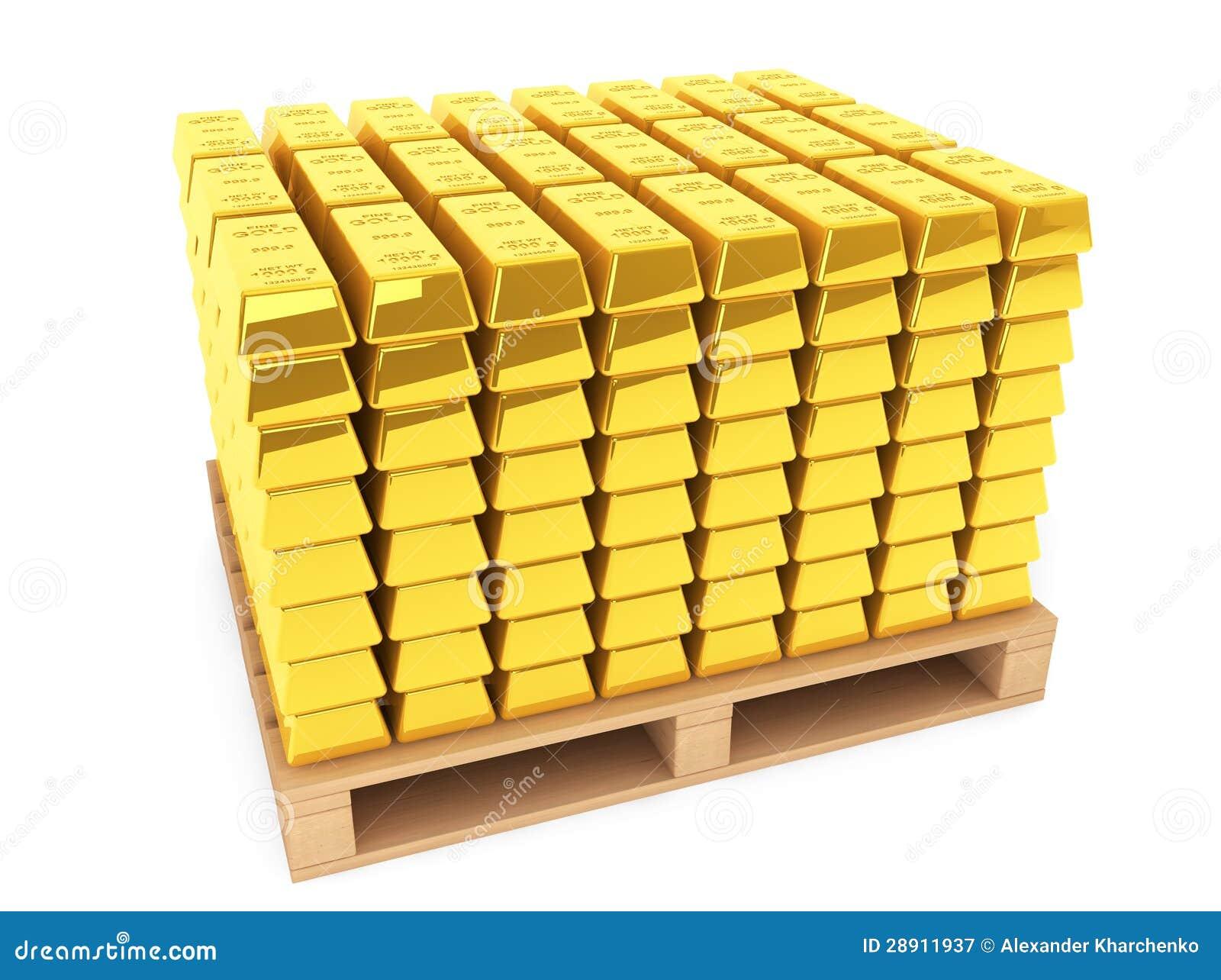 Goudstaven met pallet royalty vrije stock fotografie beeld 28911937 - Foto houten pallet ...