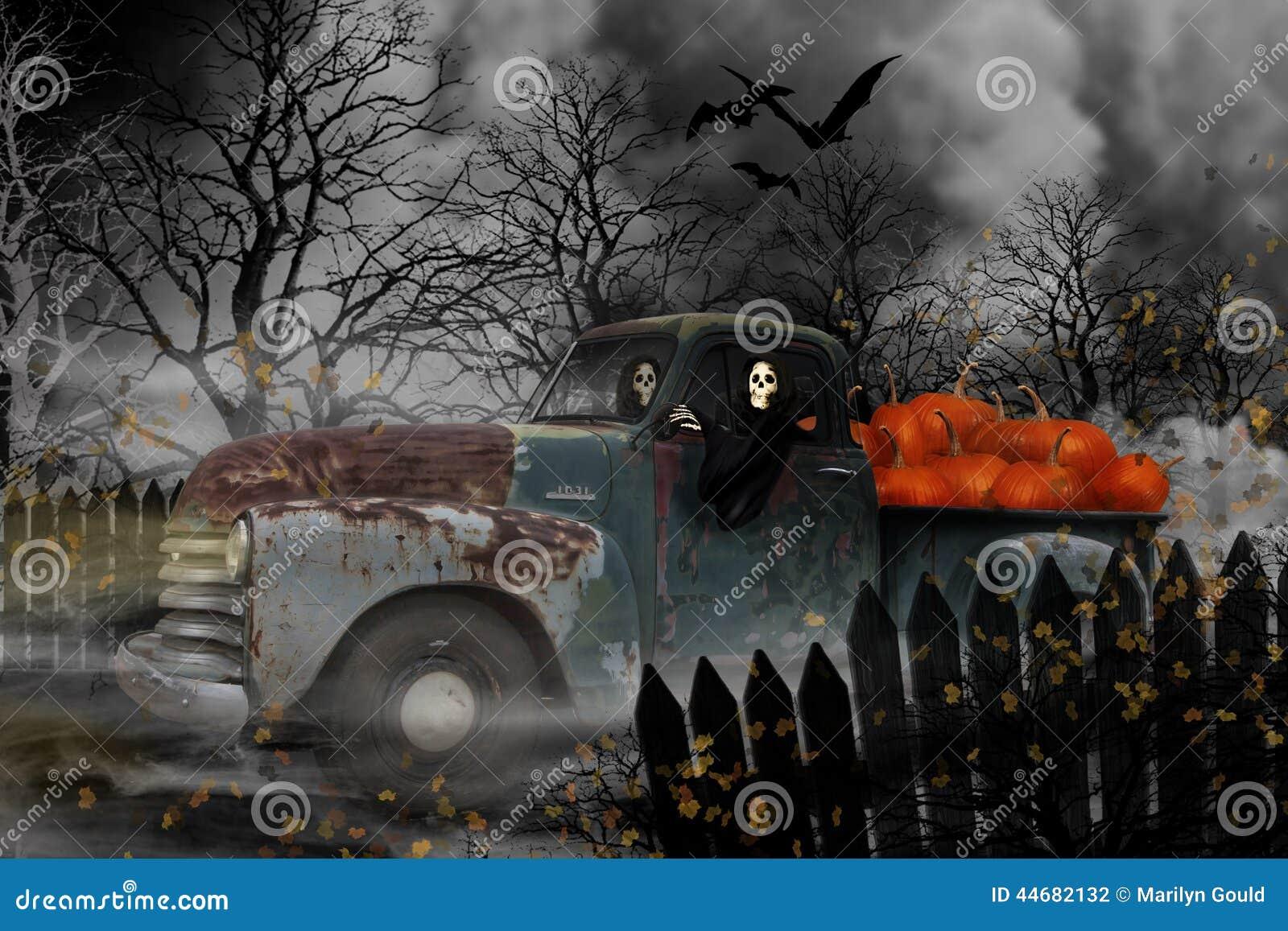 Goul di Halloween in Chevy Truck anziano