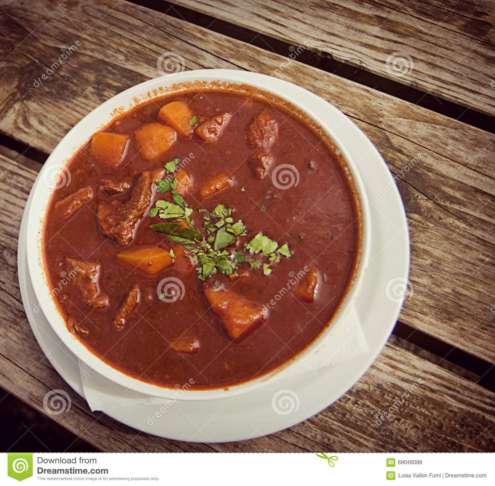 Goulash soup at beer garden, traditional Bavarian food