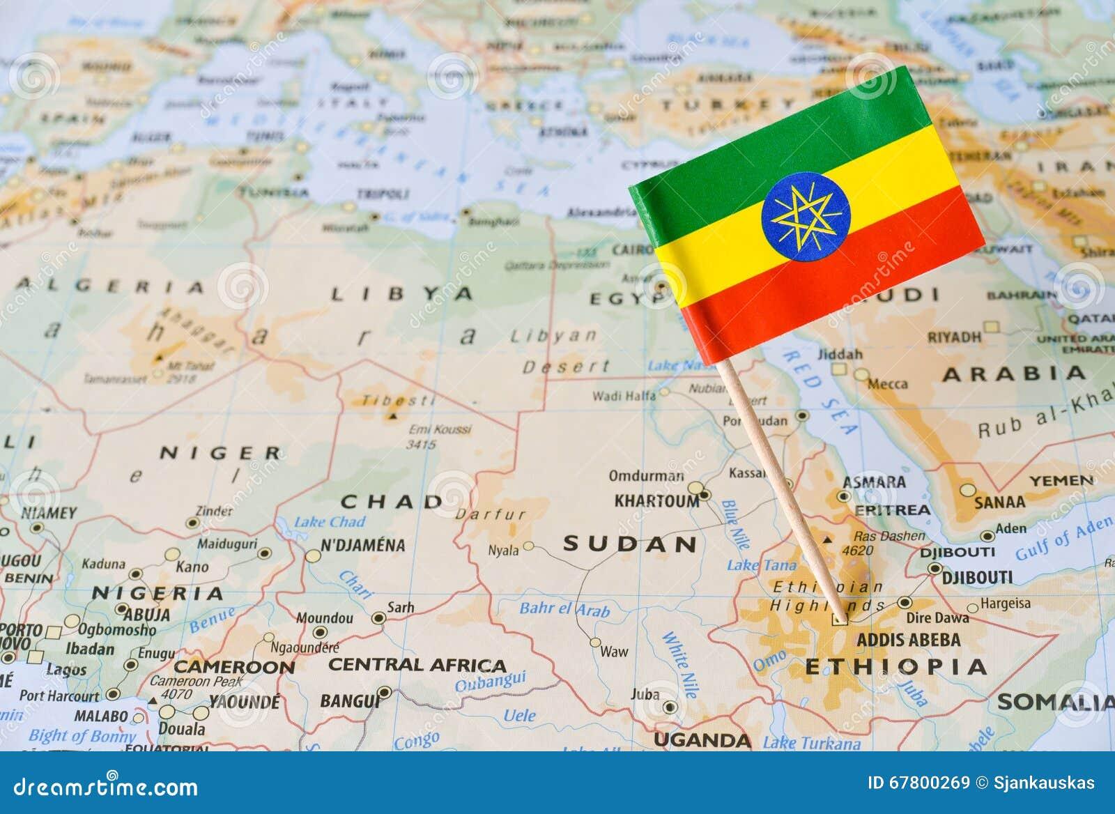 Goupille de drapeau de l Ethiopie sur la carte
