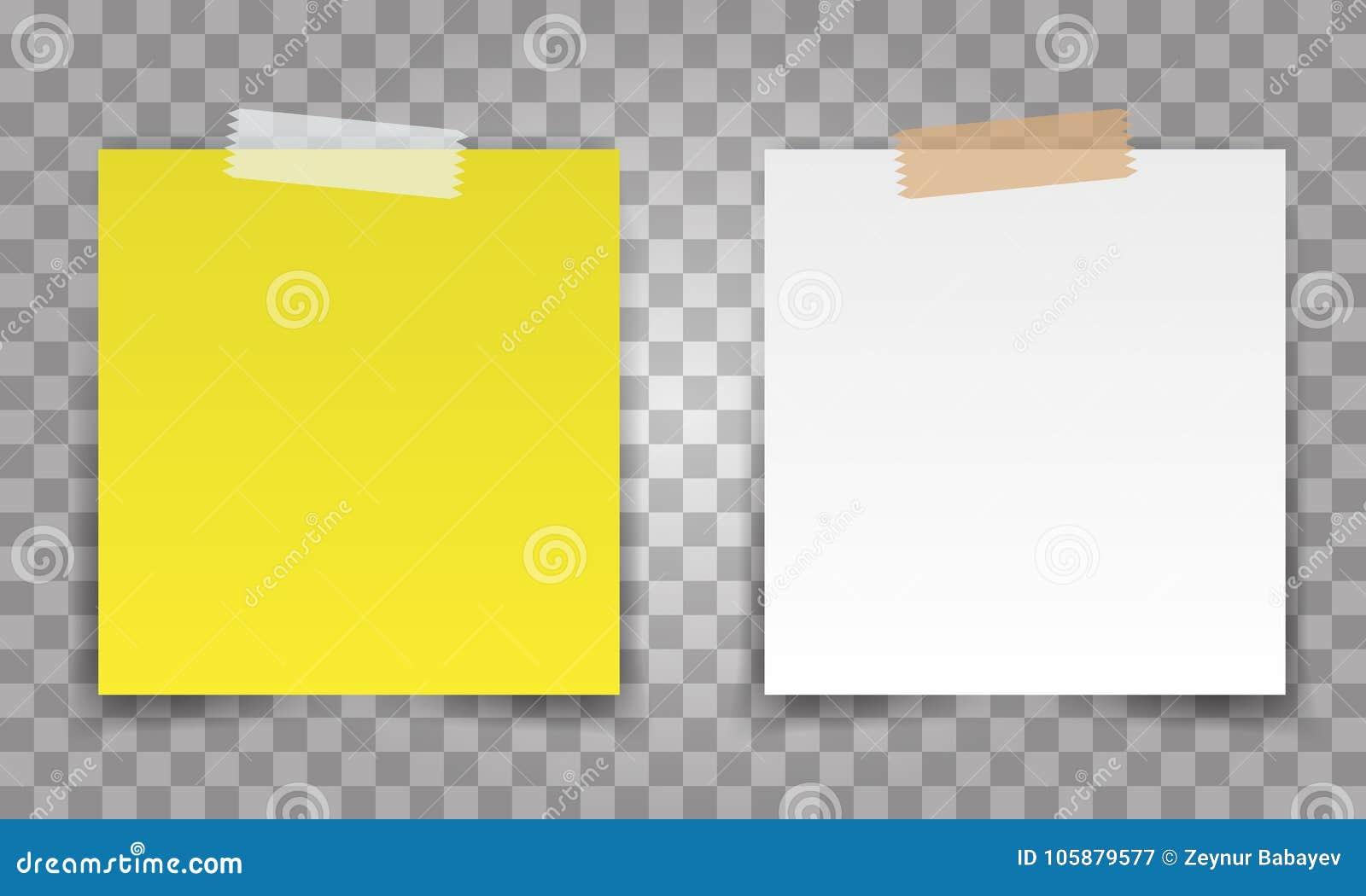 Goupille réaliste de feuille de papier de bureau avec la bande