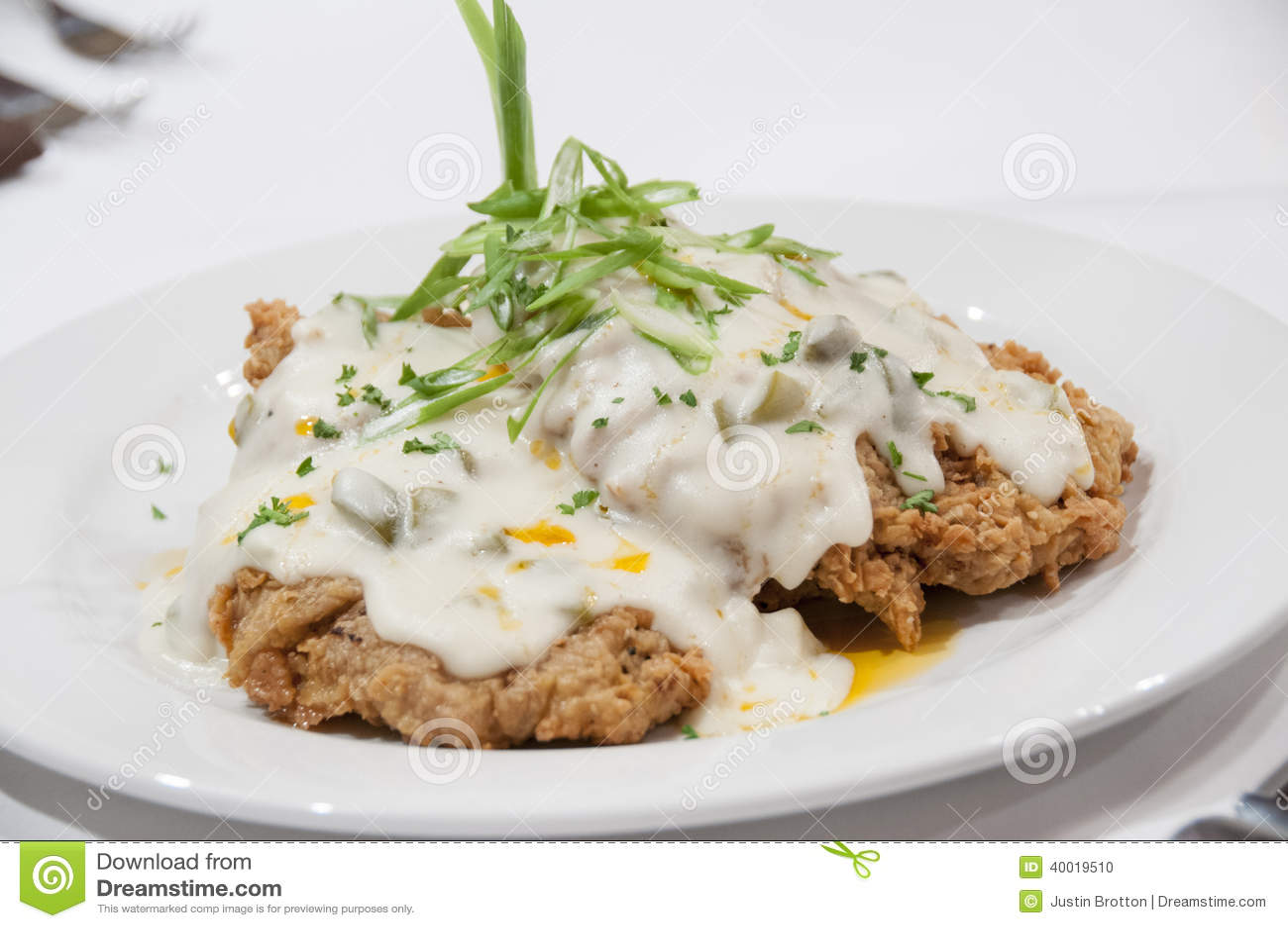 Gourmet Chicken Fried Steak Stock Photo Image Of Onion