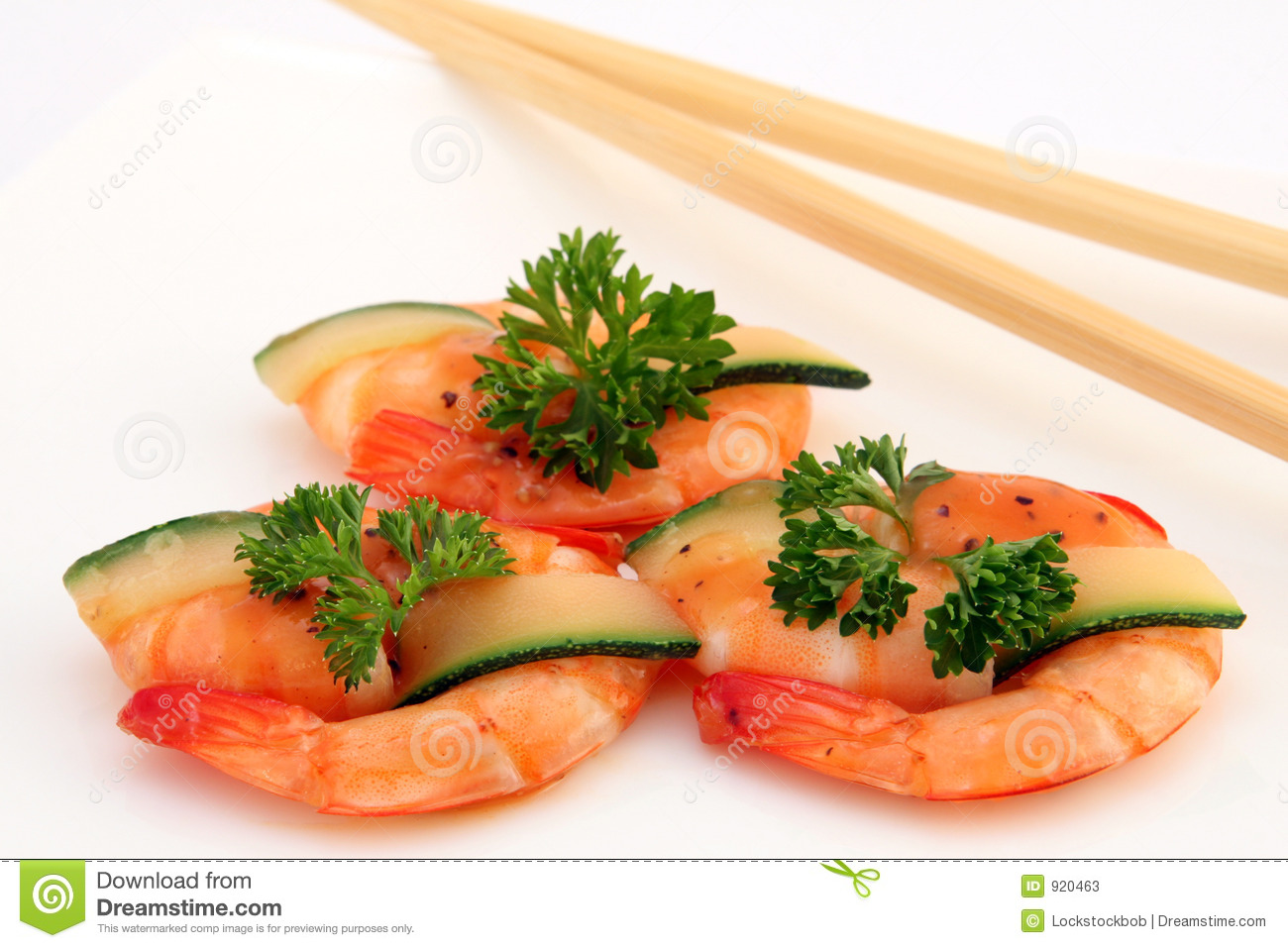 Gourmet Chinese Food - Broiled King Tiger Prawns On White Stock Photos ...