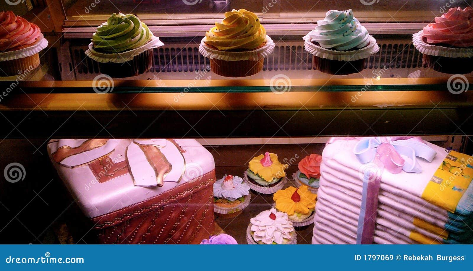 Gourmet Cupcake Display In Bakery Window Royalty Free