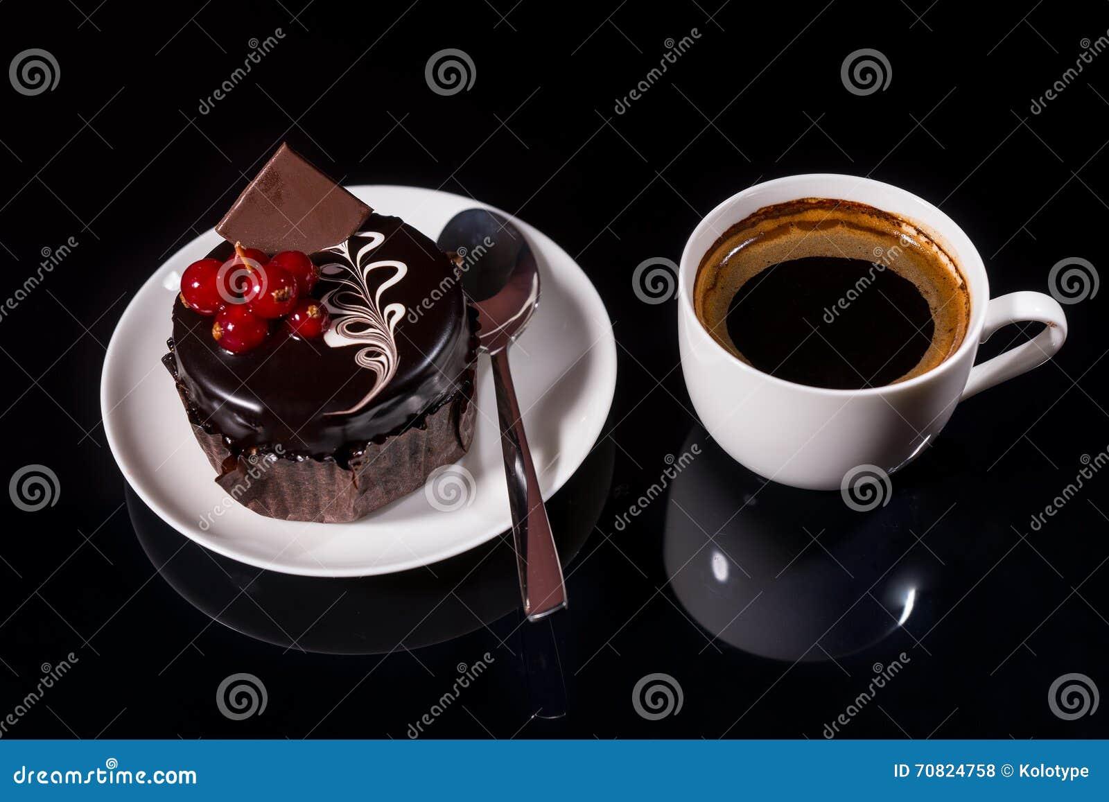 Gourmet Dark Chocolate Cake With Black Coffee
