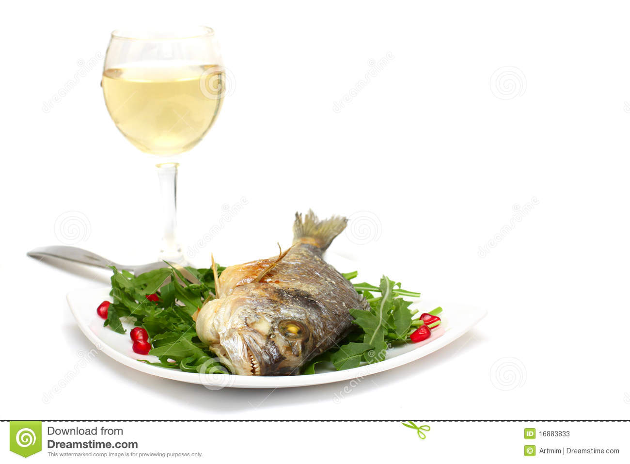 Gourmet food grilled fish and wine stock photos image for White wine with fish