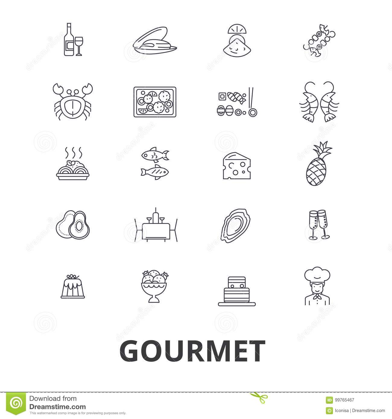 Gourmet Icon Set Stock Vector. Illustration Of Meal