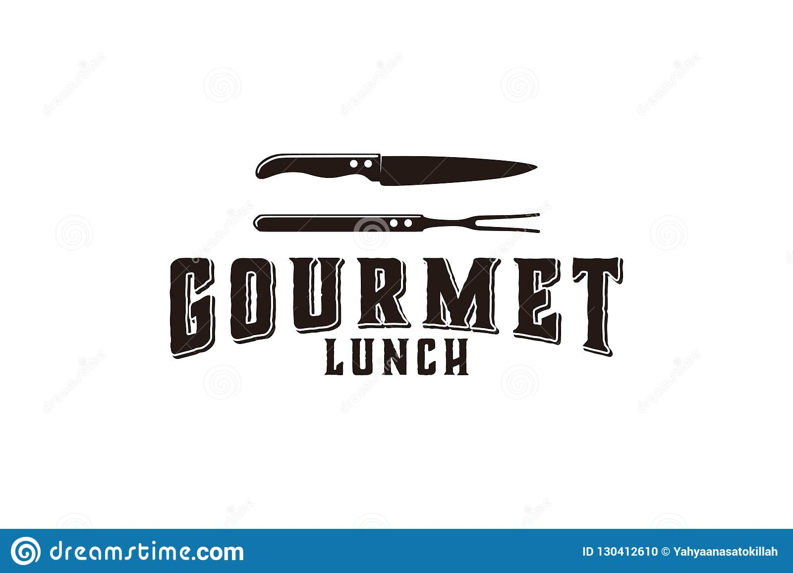 Gourmet- kök, kniven, bbq-logo planlägger inspiration som isoleras på vit bakgrund