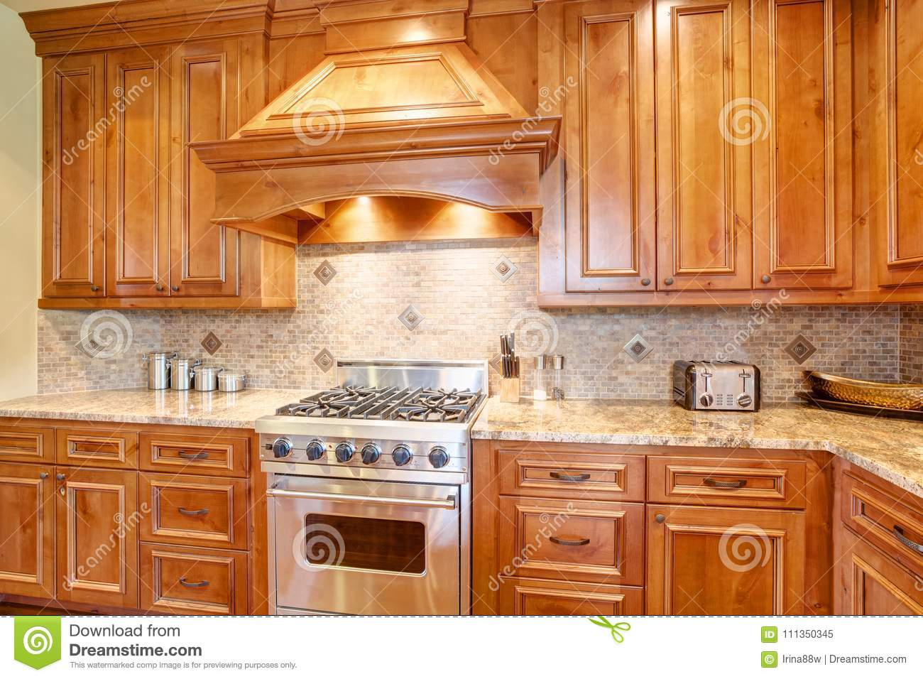 Gourmet Kitchen Boasts A Curved Kitchen Hood Stock Image Image Of Hardwood Architecture 111350345