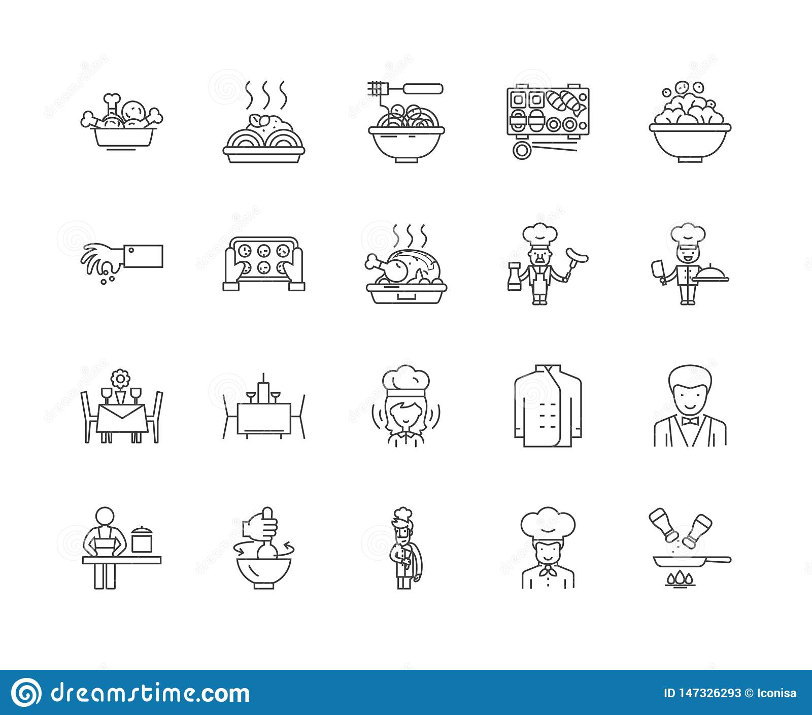 Gourmet line icons, signs, vector set, outline illustration concept