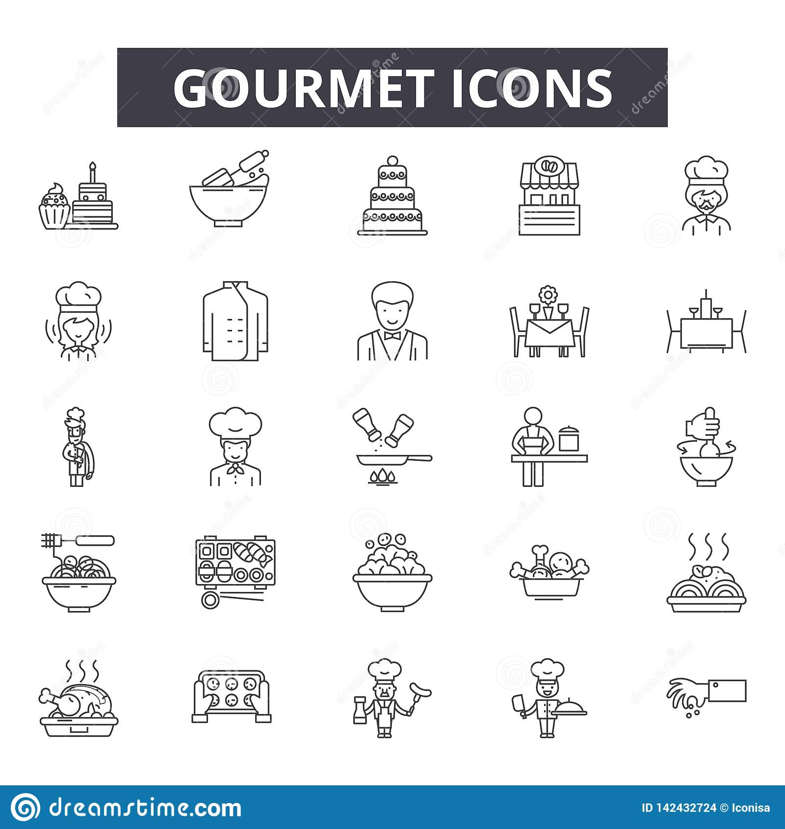 Gourmet line icons for web and mobile design. Editable stroke signs. Gourmet outline concept illustrations