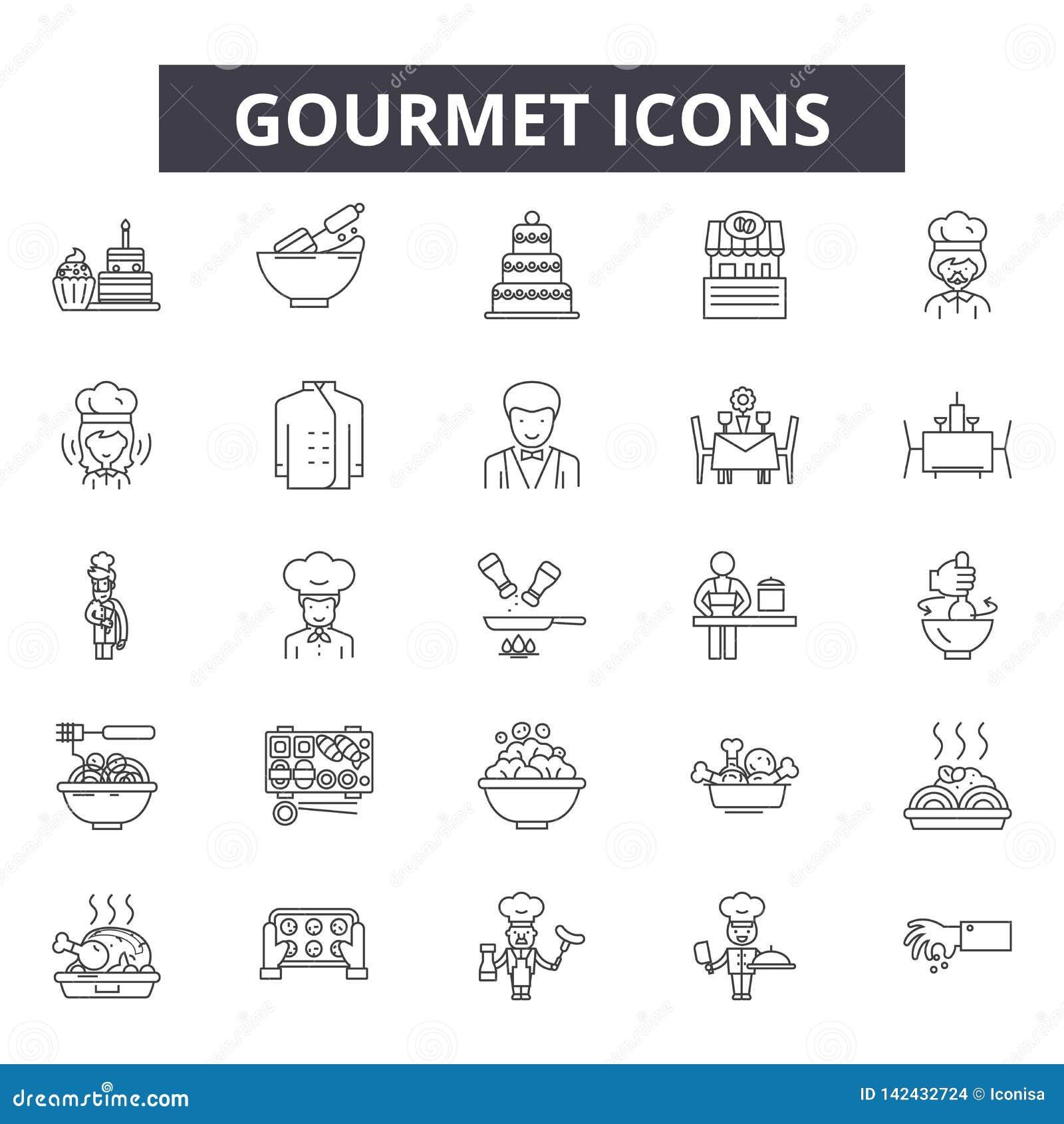 Gourmet- linje symboler för rengöringsduk och mobil design Redigerbart slaglängdtecken Gourmet- översiktsbegreppsillustrationer