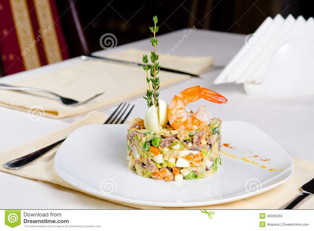 Gourmet Seafood And Vegetable Appetizer Stock Image