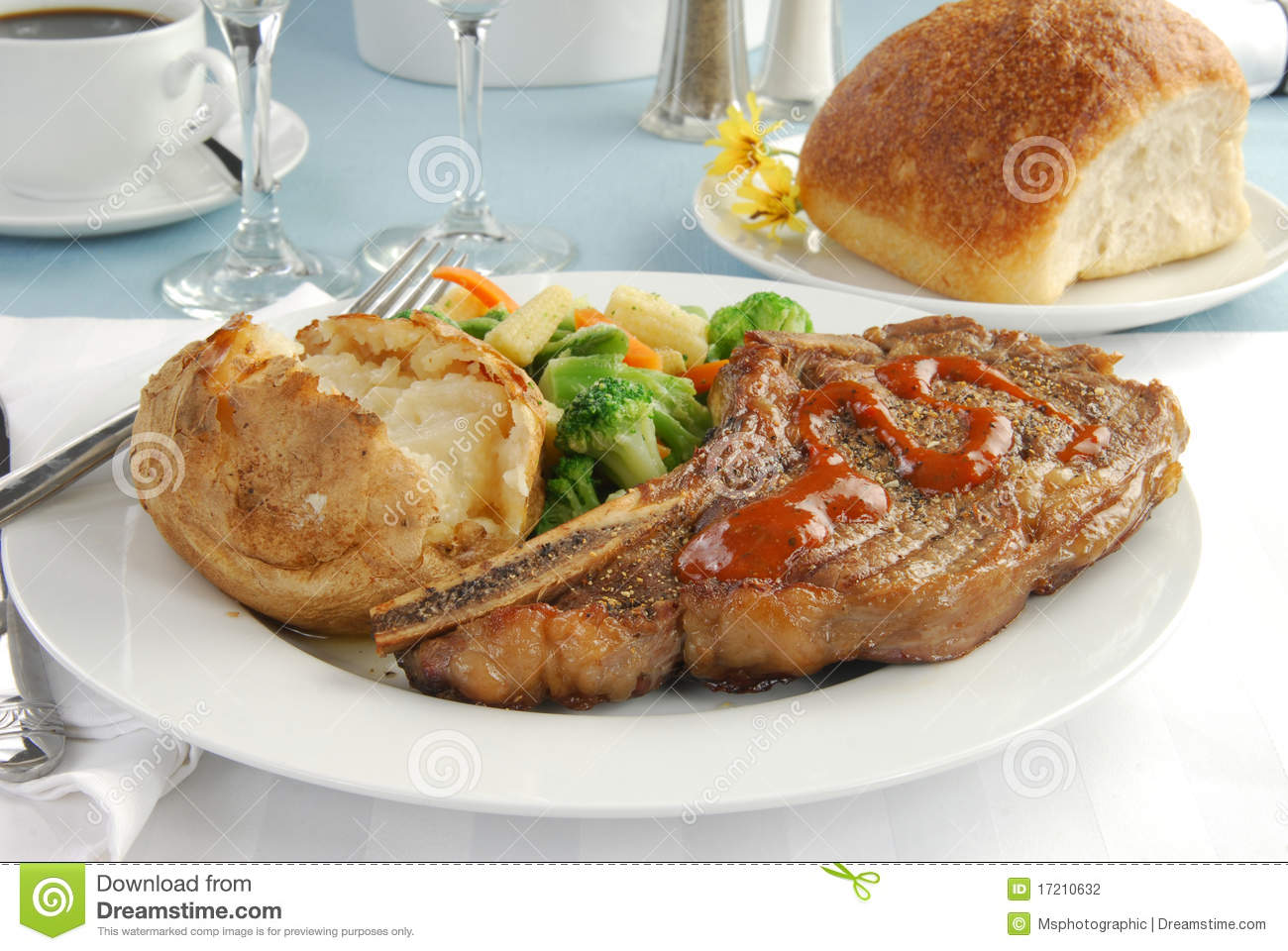 Gourmet steak dinner stock photo. Image of dinner, bread ...