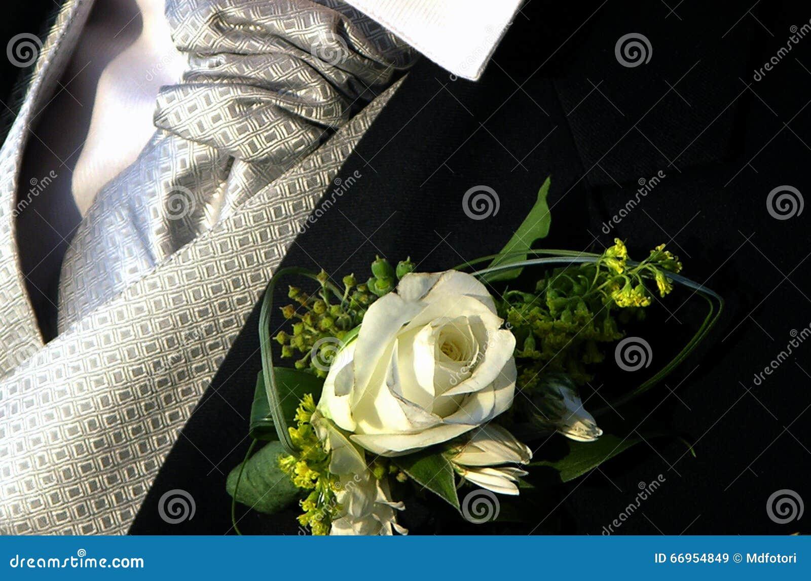 Governa il boutonniere della rosa, il legame dell argento e la serie nera