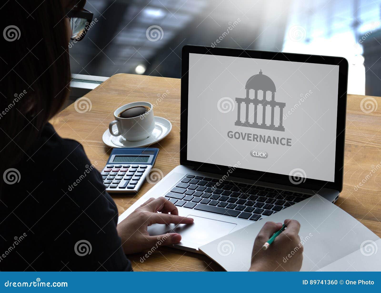 GOVERNANÇA e construção, sagacidade de computação do portátil do computador da autoridade