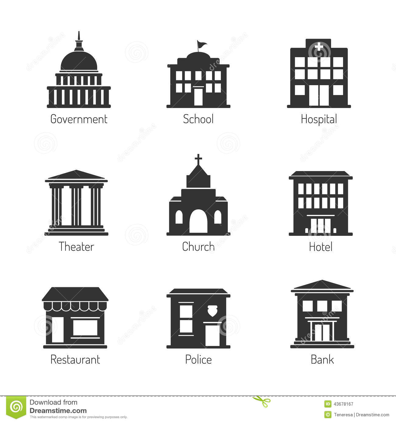government building icons stock vector  illustration of