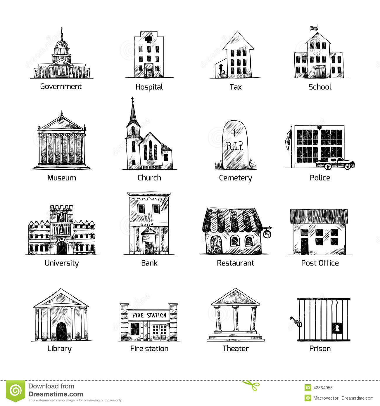Government Building Icons Set Stock Vector Image 43564955