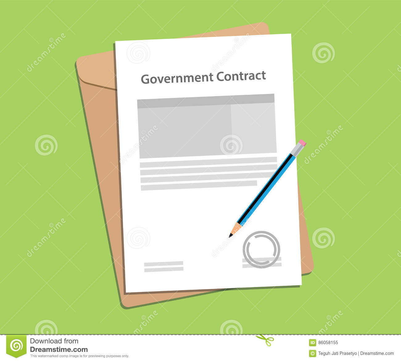 Government Contract Letter Concept With Stamp, Folder Document And A Blue  Pen