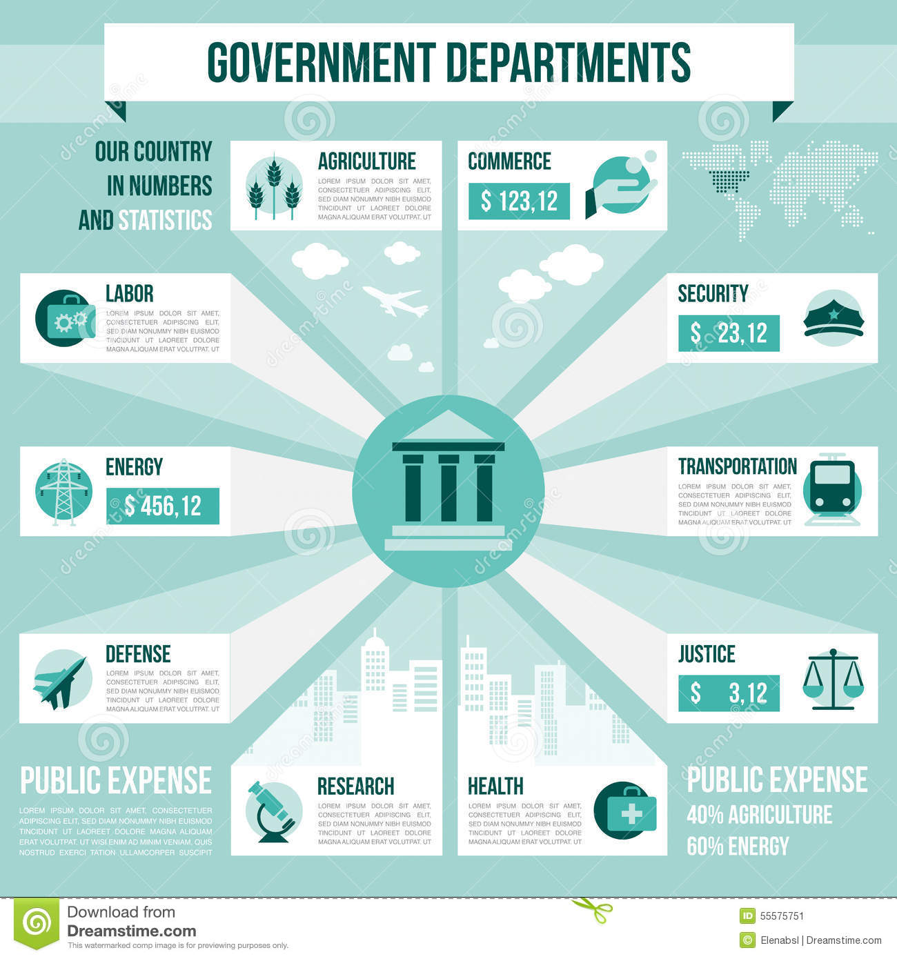 Government: Government Departments Stock Vector
