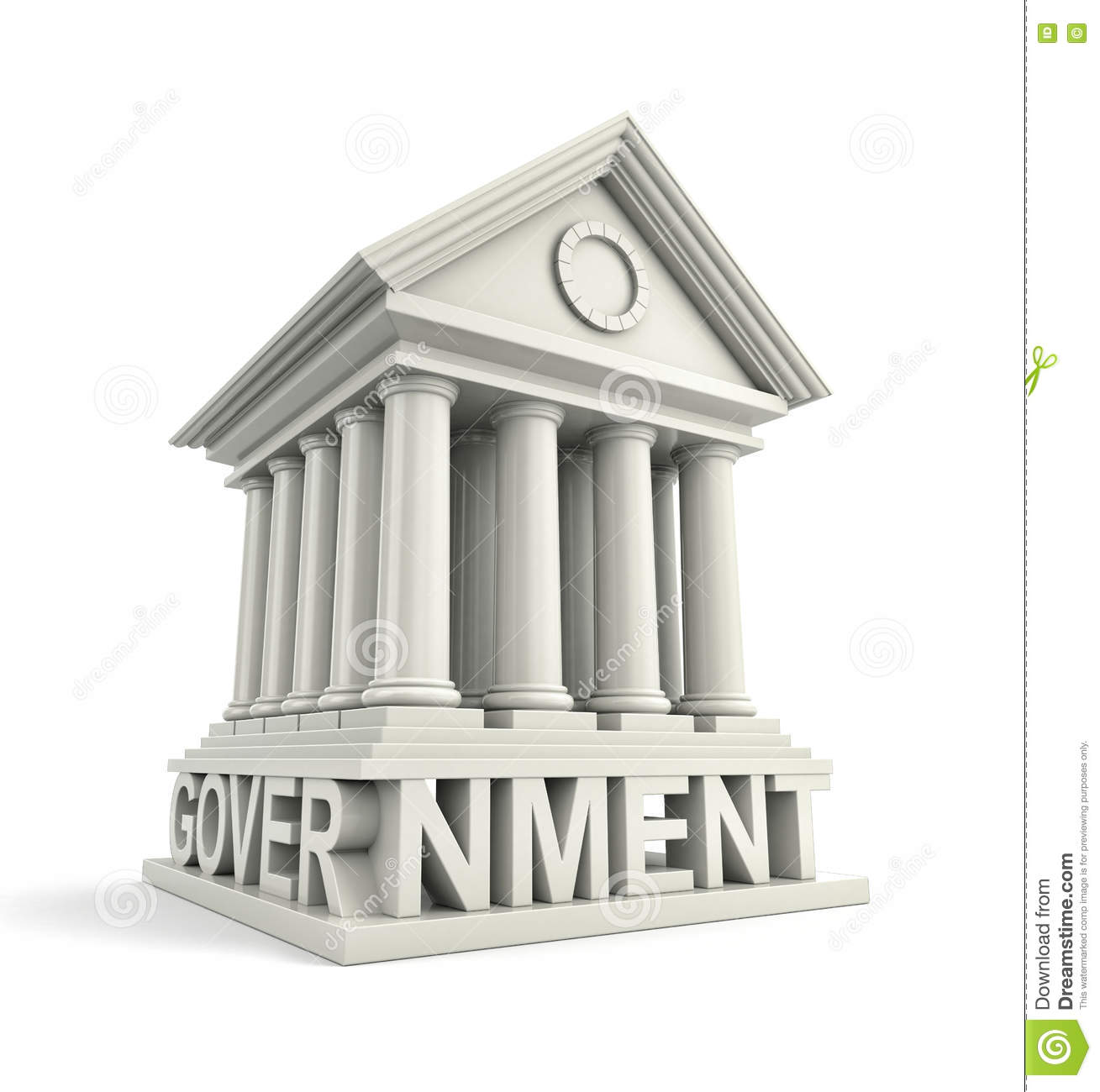 Government: Government Icon. Government 3d Building Icon Stock